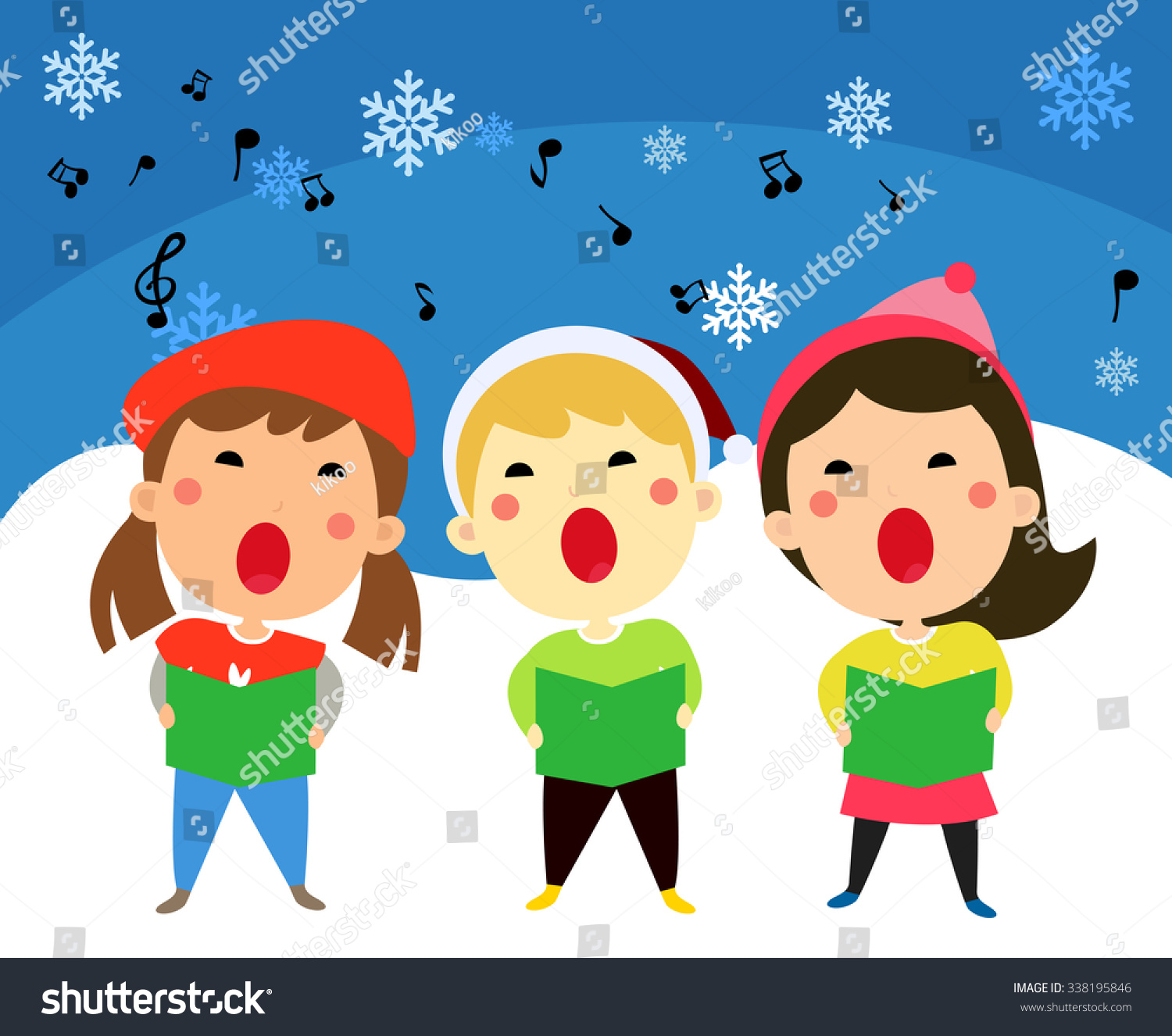 Children Singing Christmas Carols Vector Illustration Stock Vector ...