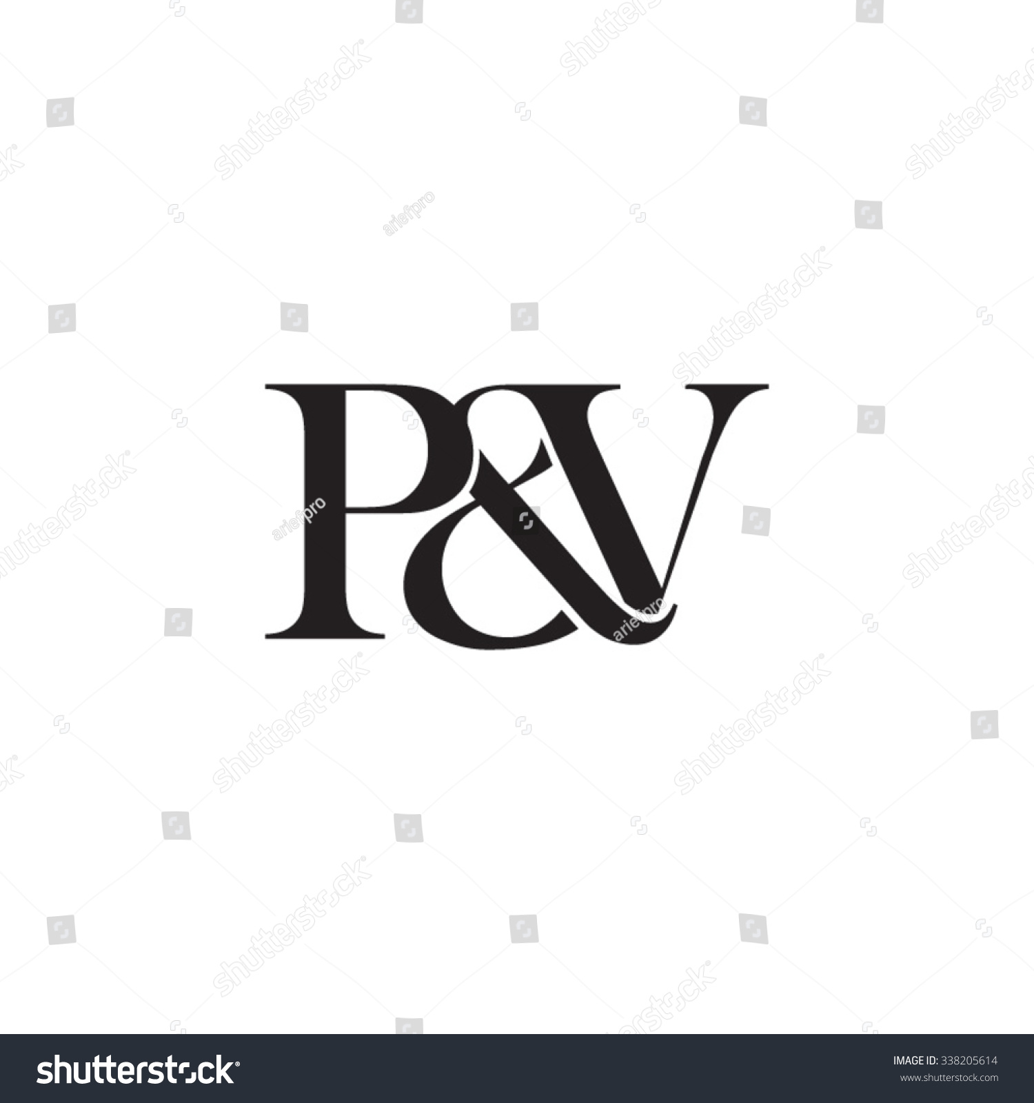 Tj initial luxury ornament monogram logo stock vector - P V Initial Logo Ampersand Monogram Logo