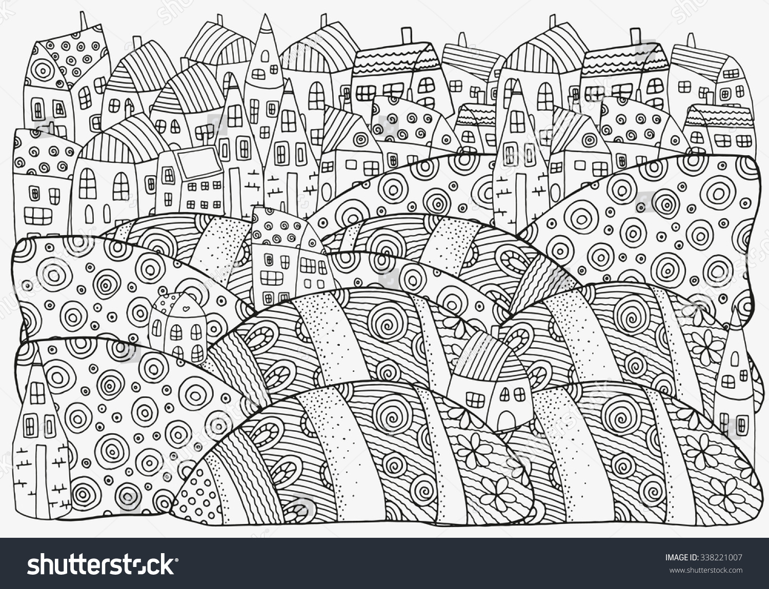 Th the magical city colouring in book - Pattern For Coloring Book With Artistically Houses A4 Size Magic City Fields