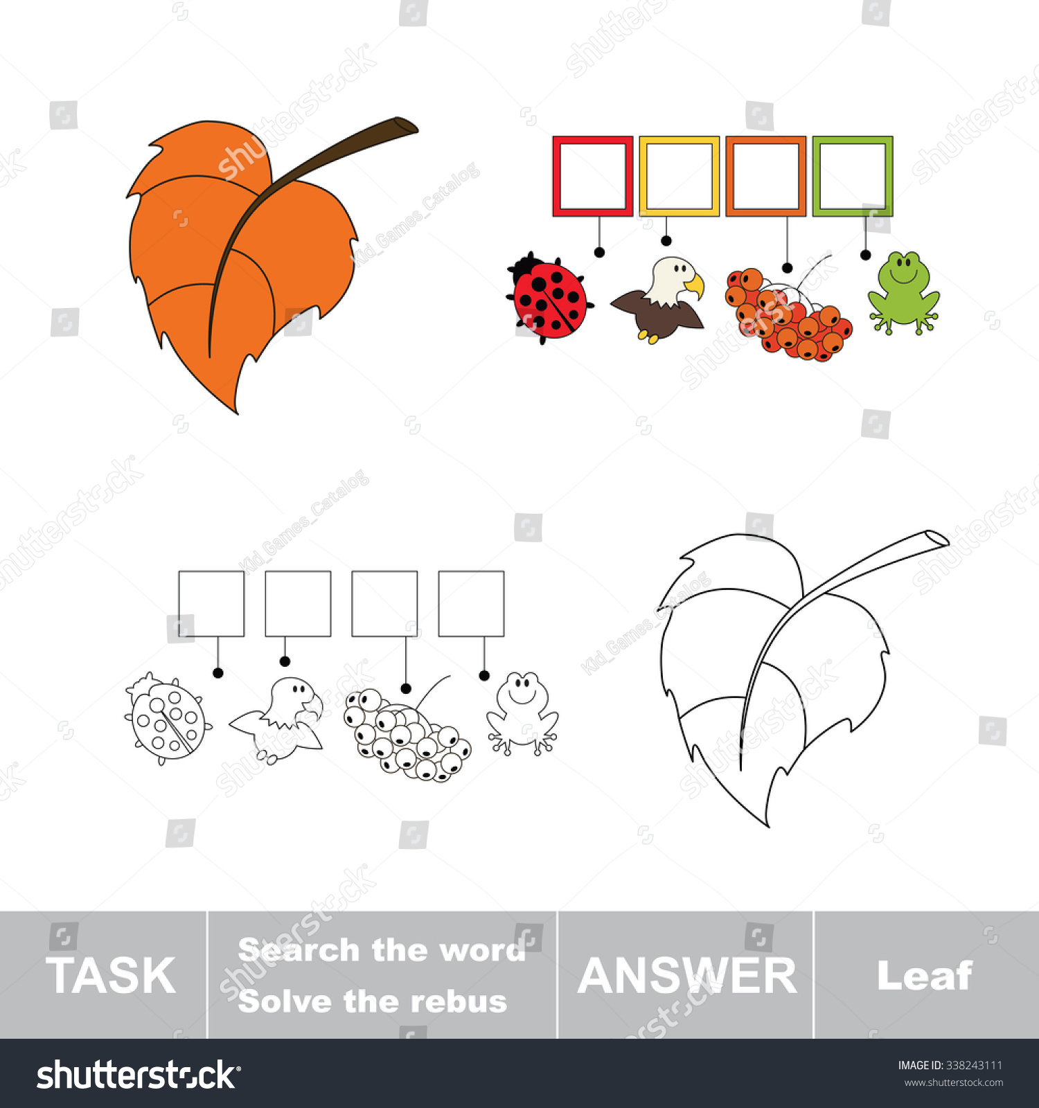 vector rebus game solve the rebus and find the word leaf task and answer 338243111. Black Bedroom Furniture Sets. Home Design Ideas