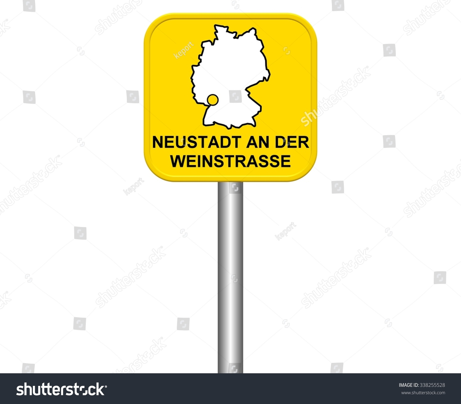 Neustadt Germany Map.Yellow City Sign German City Neustadt Stock Illustration 338255528