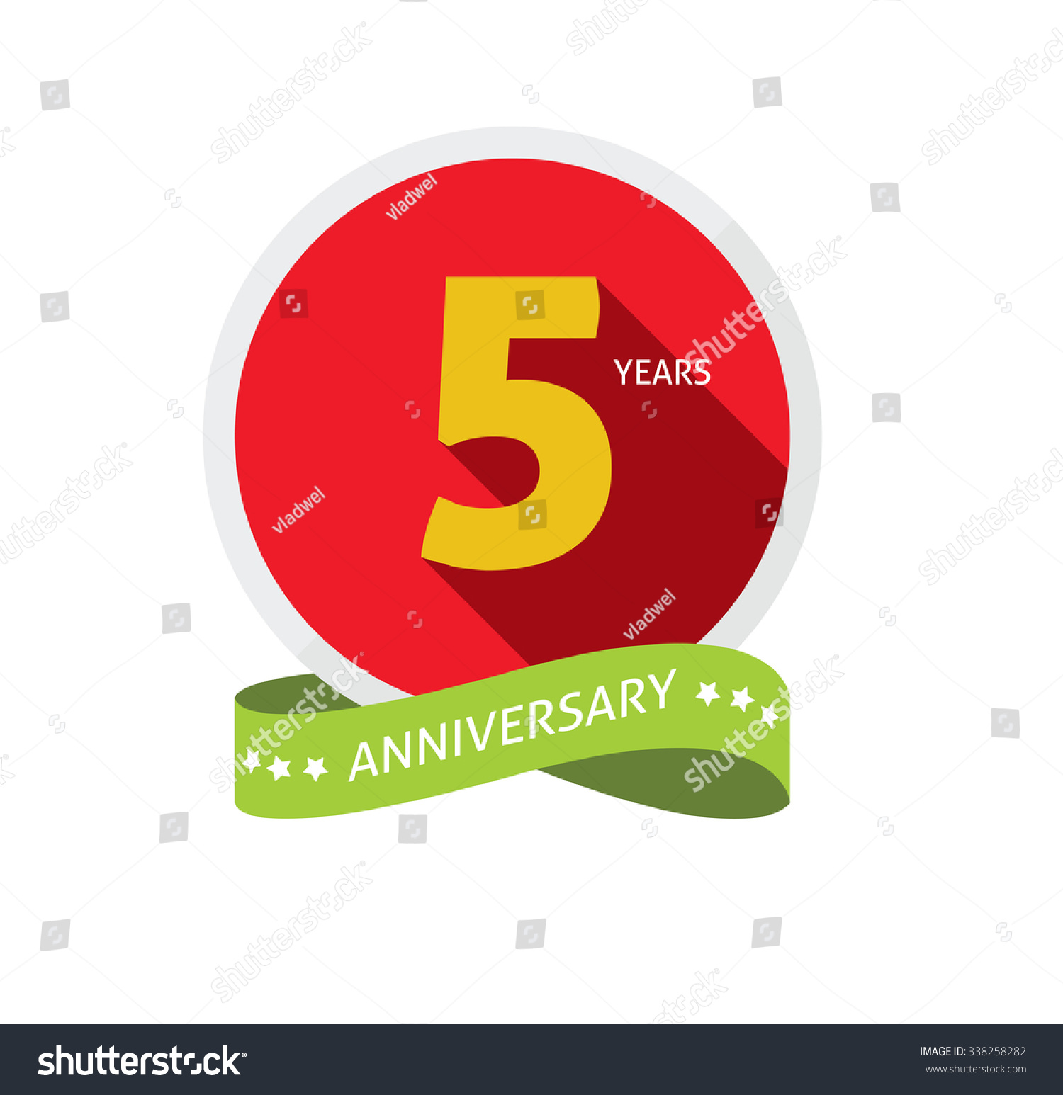 5th Anniversary Logo Template Shadow On Stock Vector Royalty Free