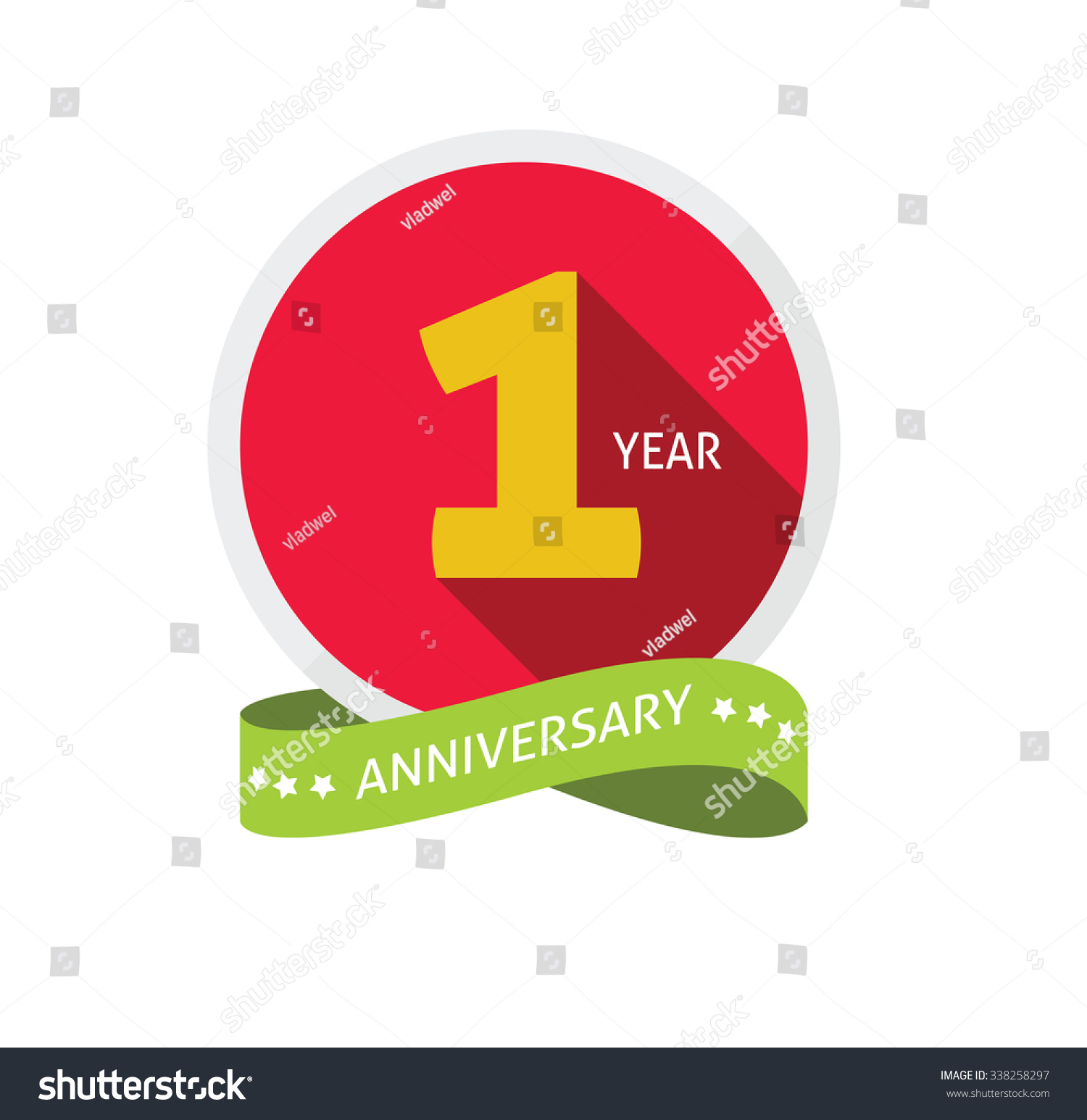 1st anniversary logo template shadow on stock vector