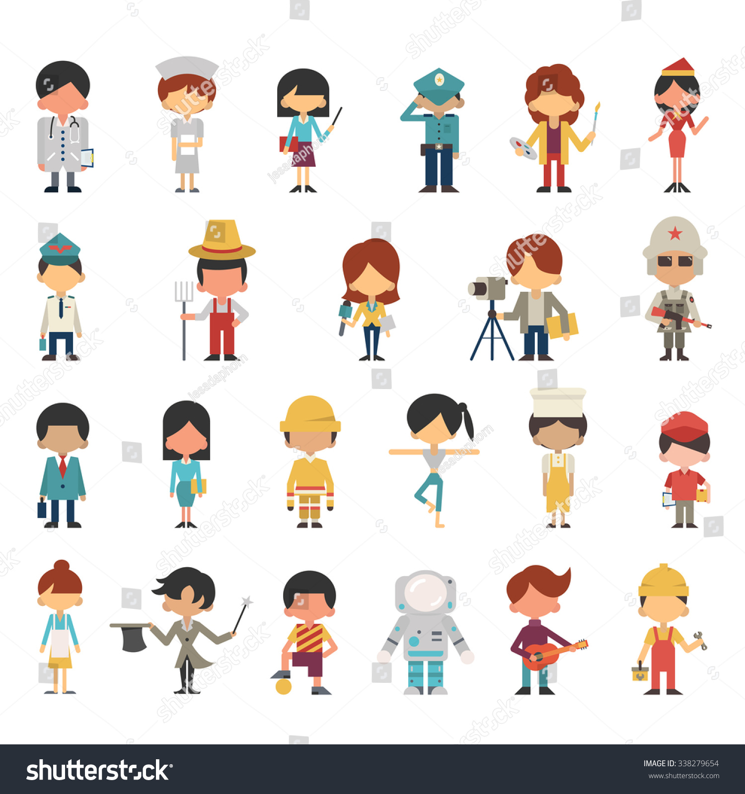 Illustration characters kids children various occupations for Character designer job
