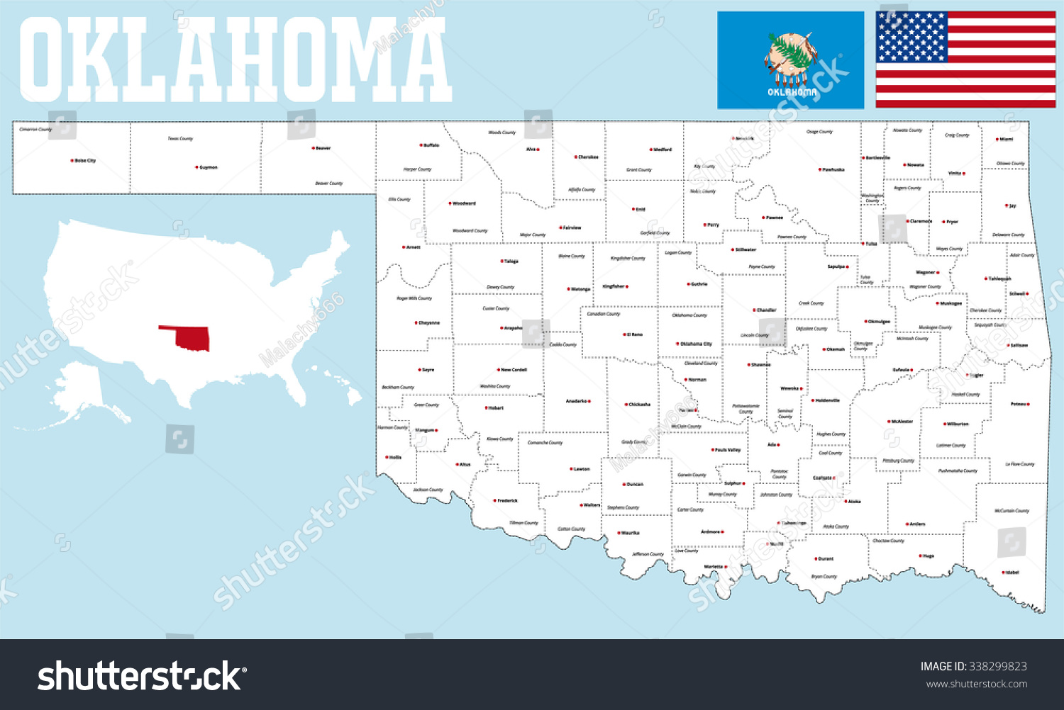 Large Detailed Map State Oklahoma All Stock Vector - Detailed map of oklahoma