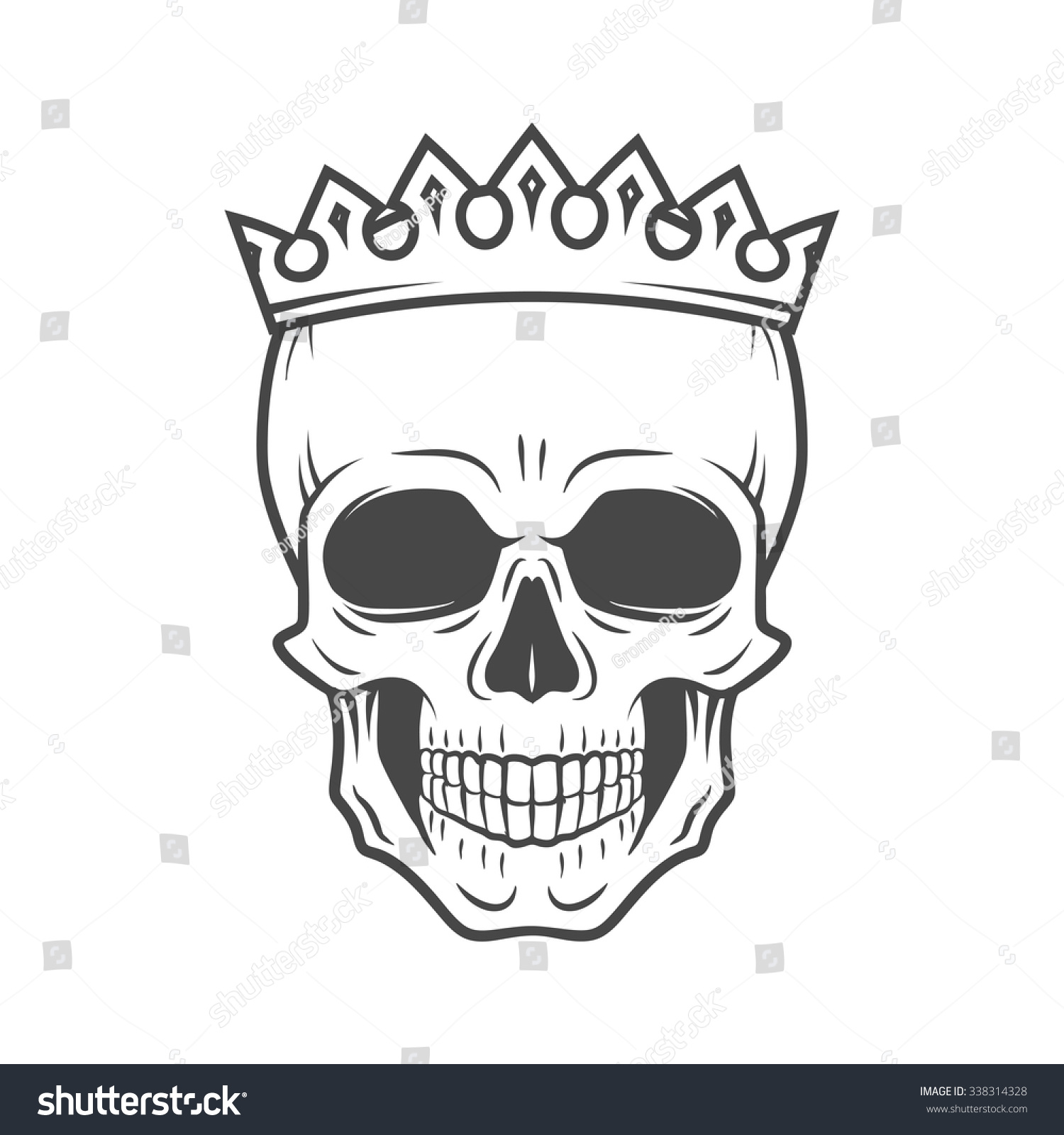Skull King Crown Design Element Vintage Stock Vector 338314328 Shutterstock