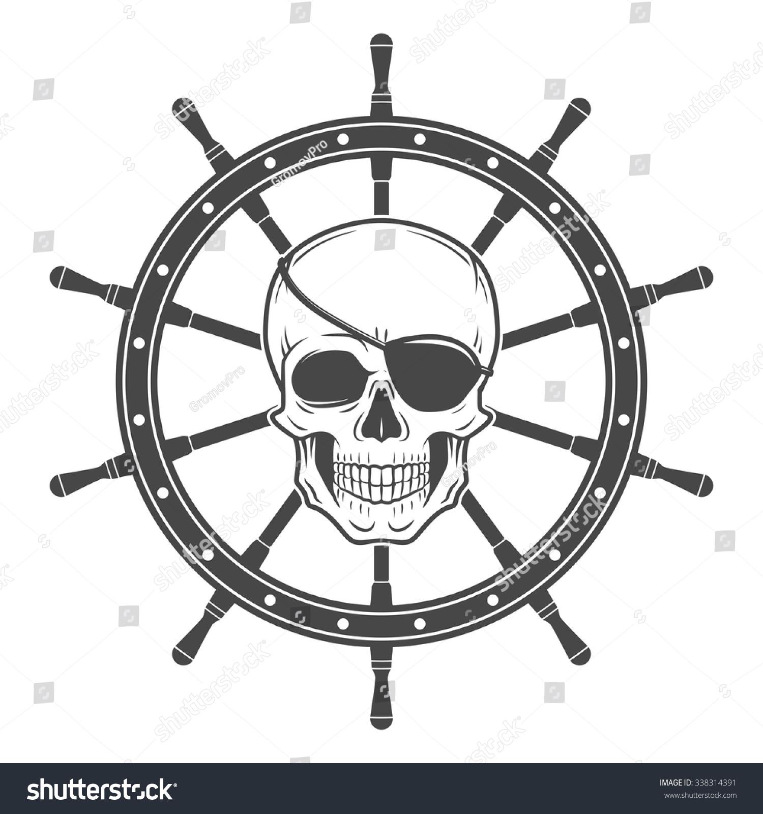 jolly roger eyepatch logo template evil stock vector 338314391