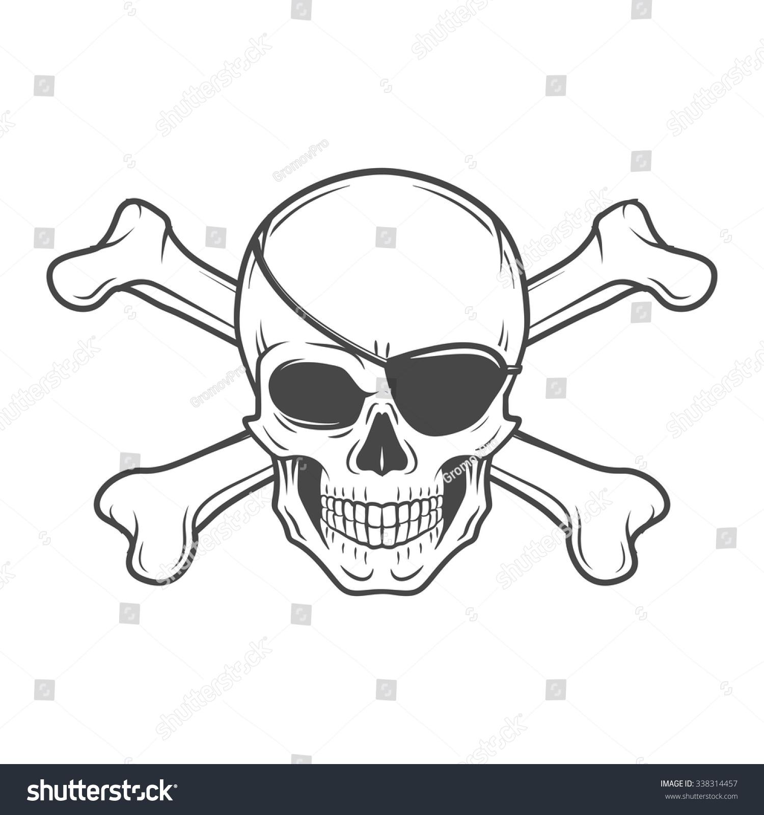 jolly roger eyepatch logo template evil stock vector royalty free