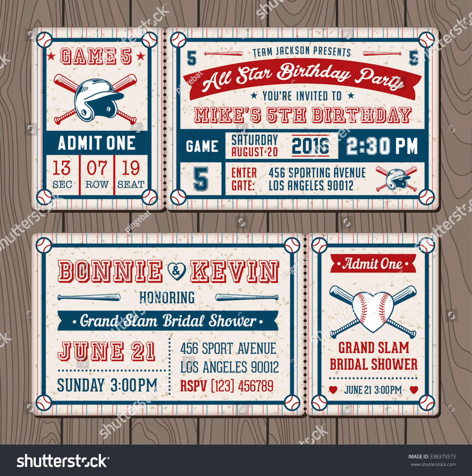 Vector Illustrations Invitation Tickets Baseball Softball Stock