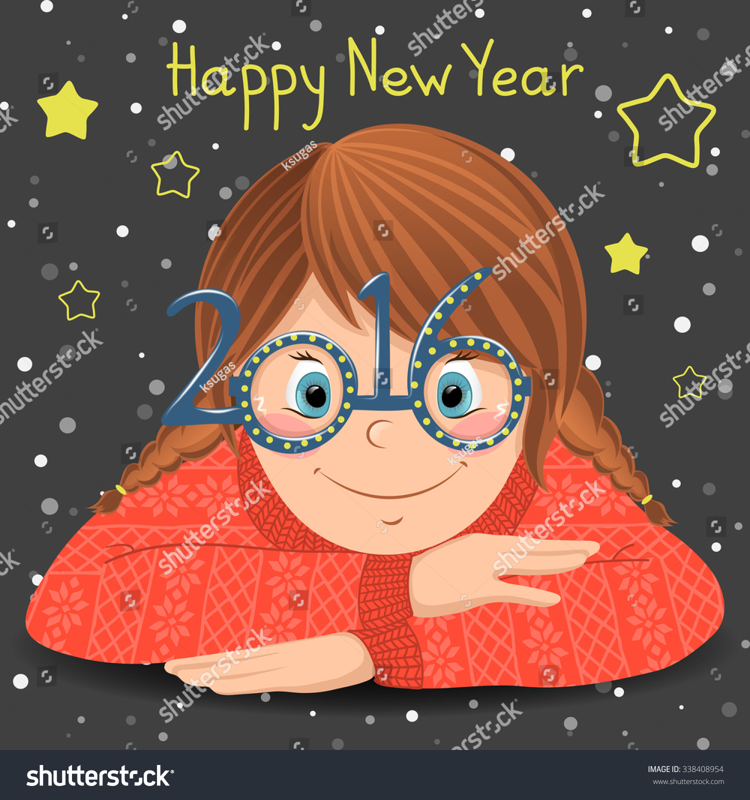 happy new year card cute cartoon girl in funny glasses
