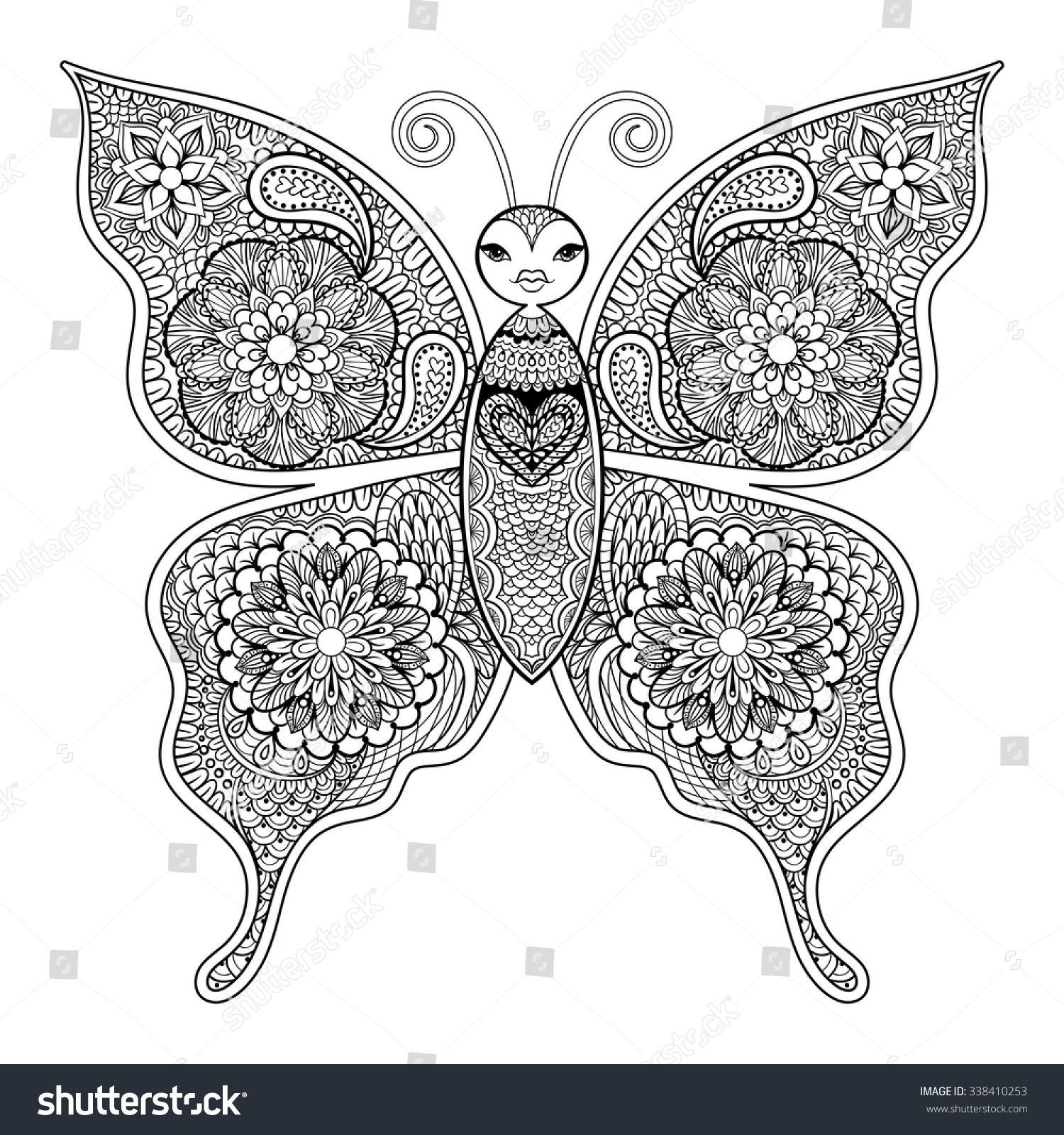 Downloadable butterfly coloring pages - Zentangle Vector Butterfly For Adult Anti Stress Coloring Pages In Doodle Style Ornamental Tribal Patterned