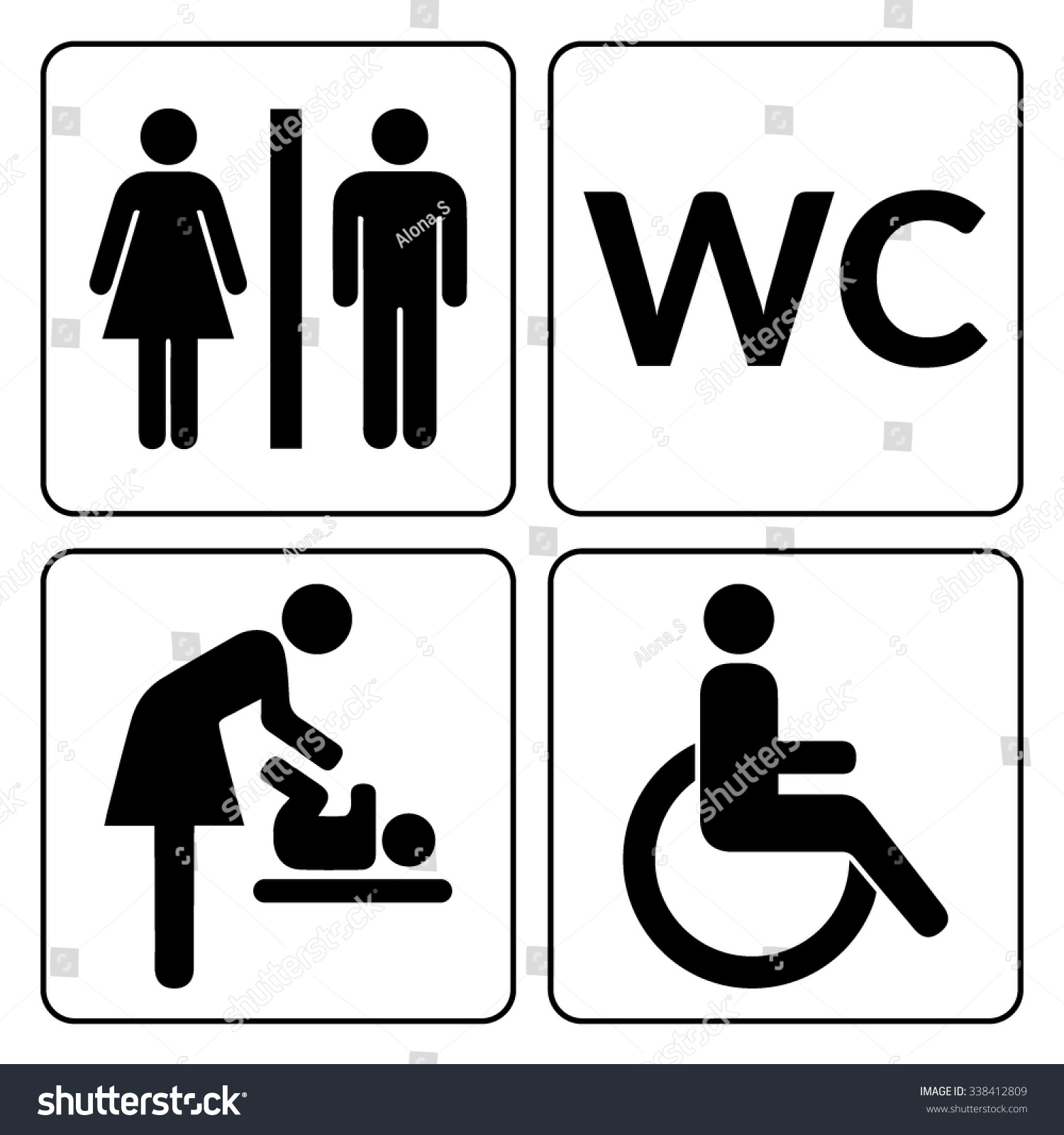 Wc Signs Set Man Woman Mother Stock Vector 338412809