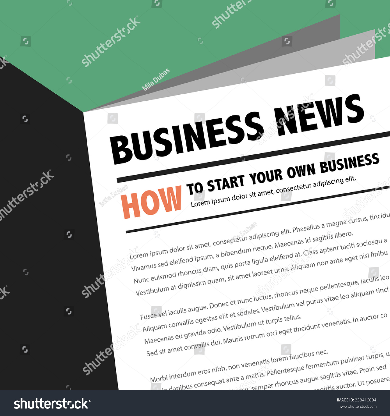 Abstract Business News Newspaper Motivation Article Stock Vector ...