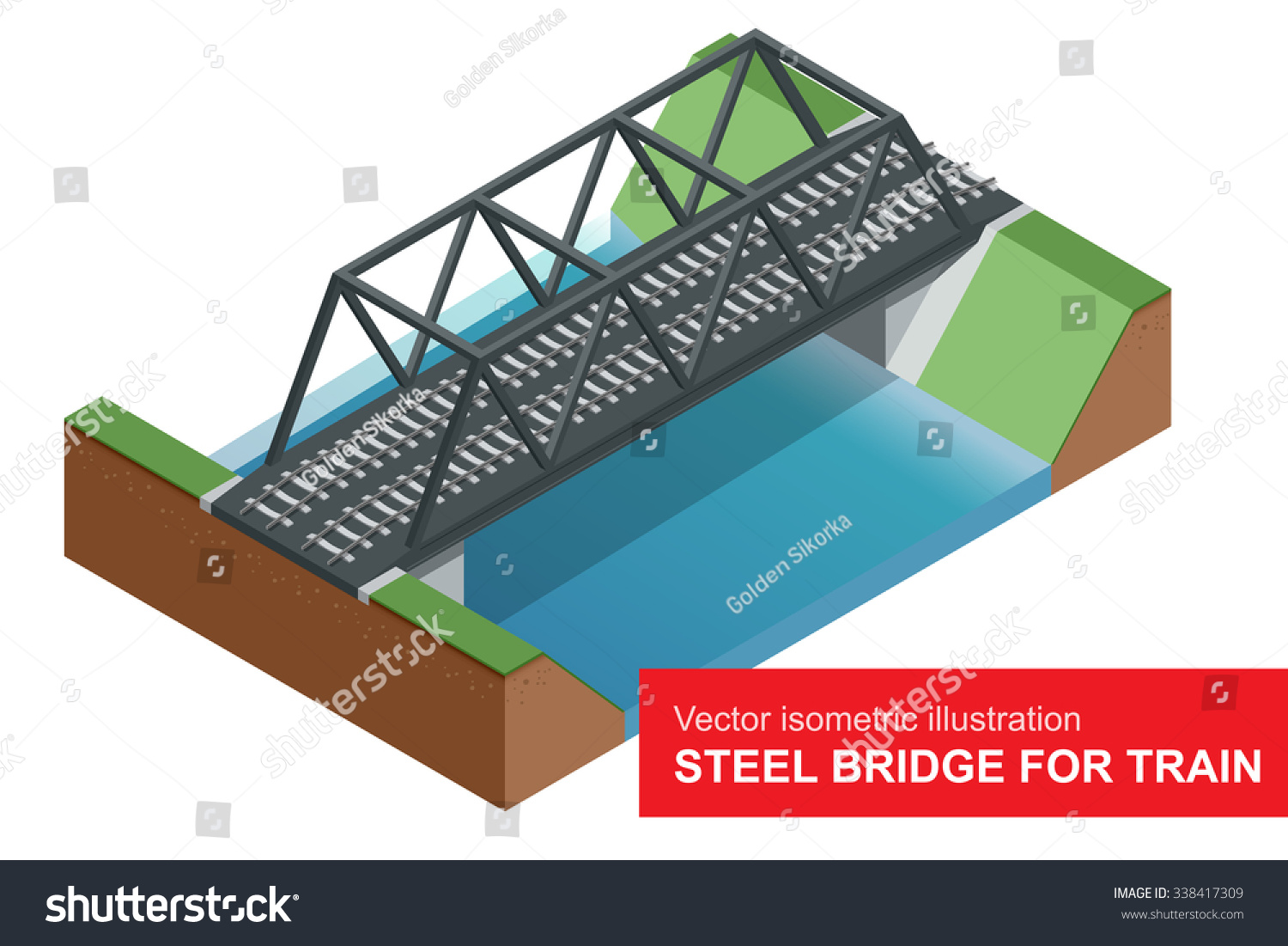 Vector Isometric Illustration Steel Bridge Train Stock Truss Diagram Aircraft Design Software Of For Vehicles Designed To Carry Large Numbers