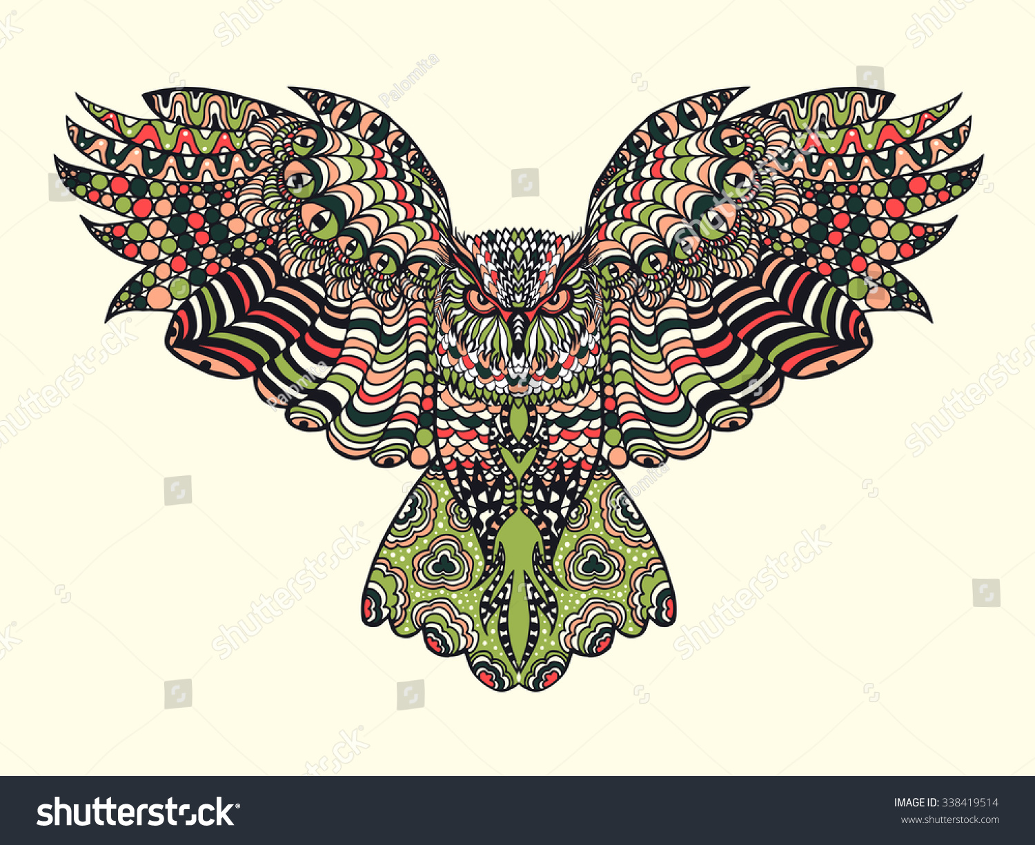 Stock Vector Zentangle Stylized Eagle Owl Colorful Hand Drawn Doodle E...