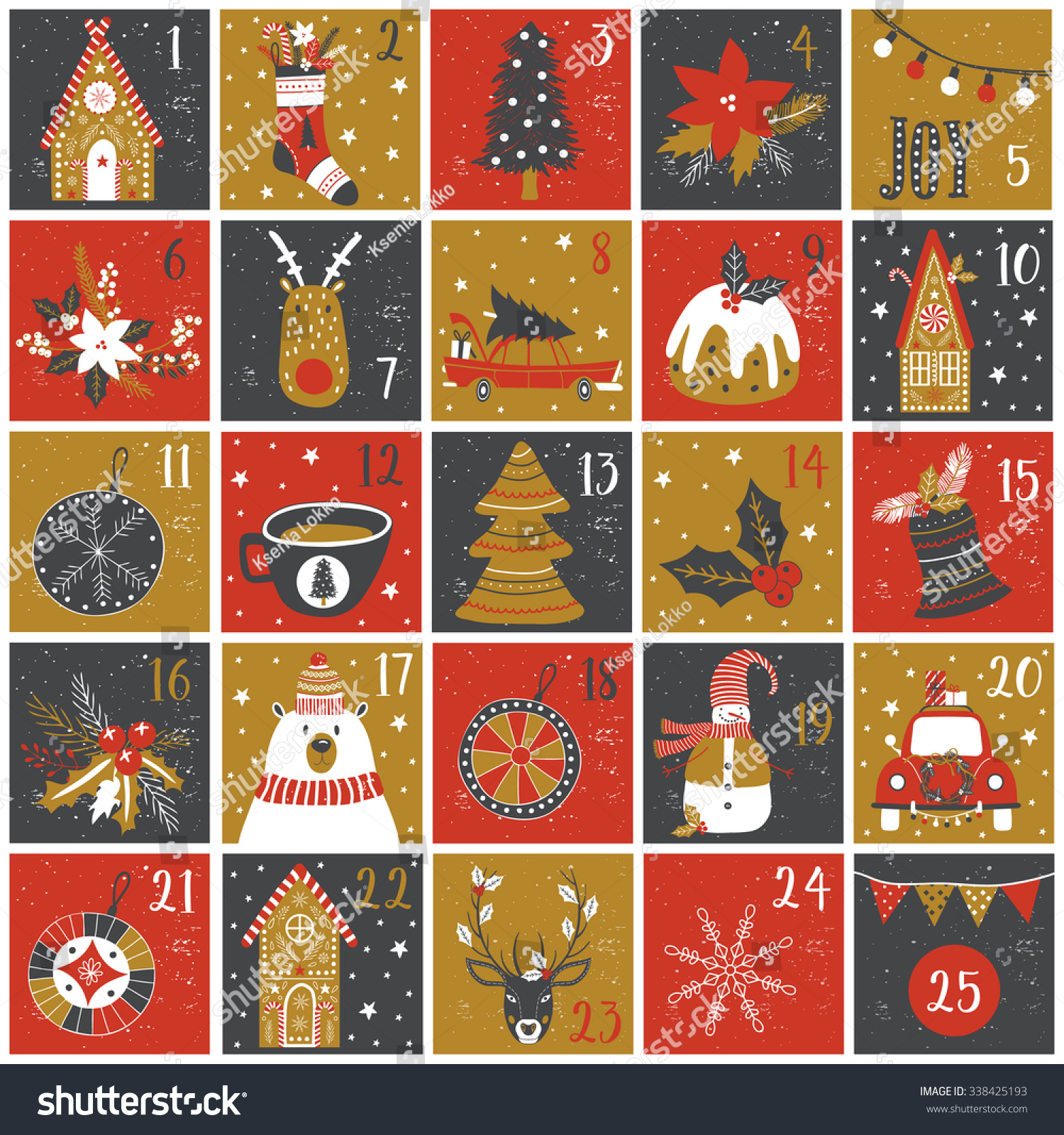 Advent Calendar Christmas Poster Stock Vector 338425193 ...
