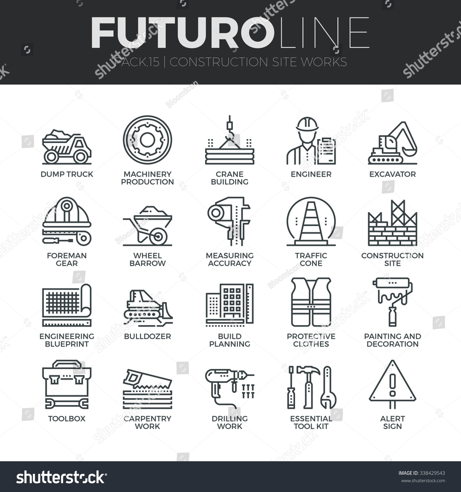Modern thin line icons set construction vector de stock338429543 modern thin line icons set of construction works on site and building tools premium quality malvernweather Images
