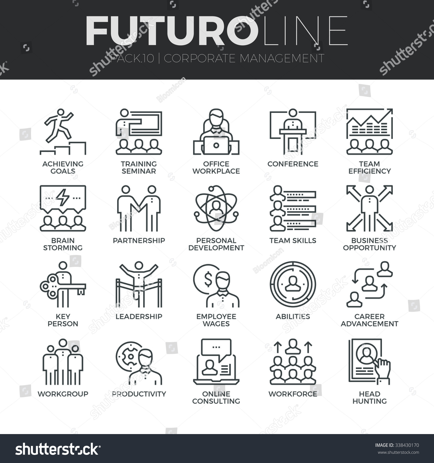 Modern thin line icons set of corporate management and business leader training. Premium quality outline symbol collection. Simple mono linear pictogram pack. Stroke vector logo concept,web graphics. #338430170