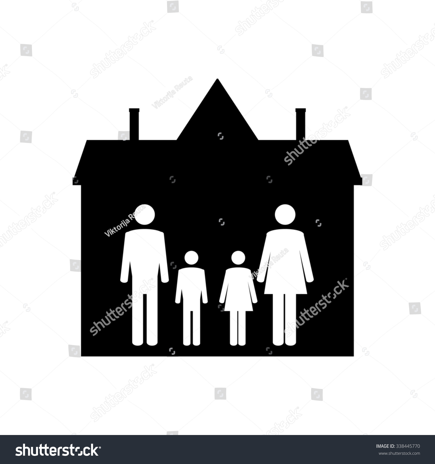 Family Symbols Mother Father Son Daughter Stock Illustration