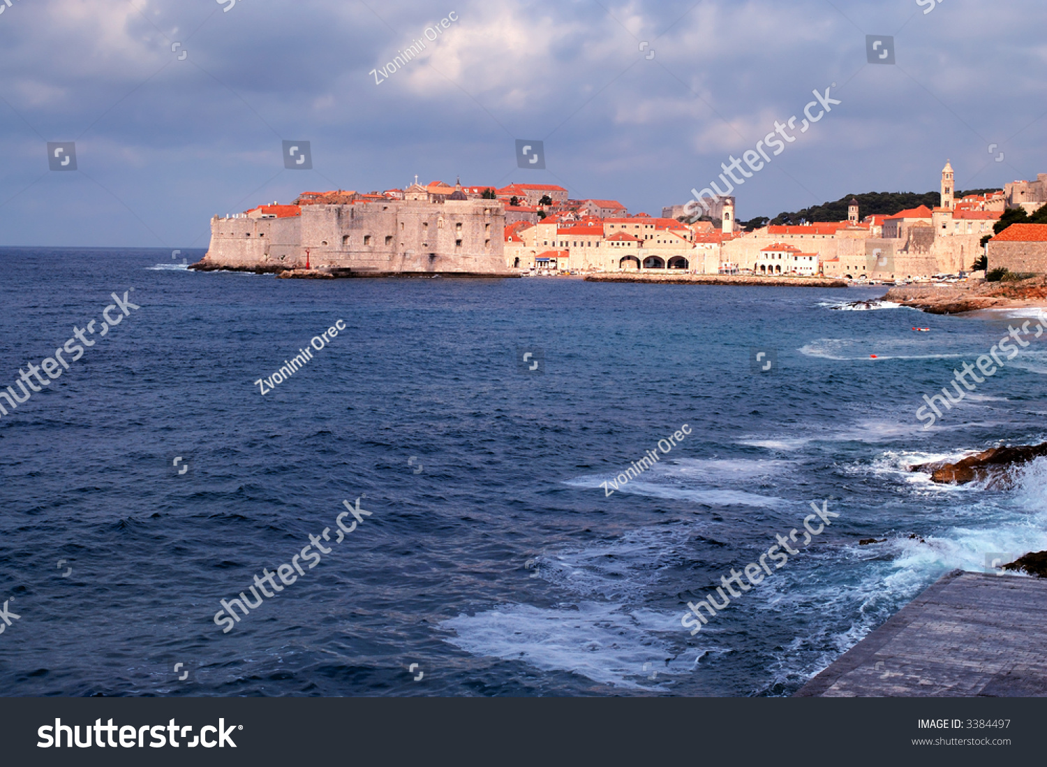 city of dubrovnik under partly cloudy sky stock photo