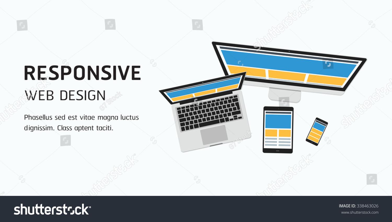 Vector Responsive Web Design Flat Design Stock Vector Royalty Free 338463026