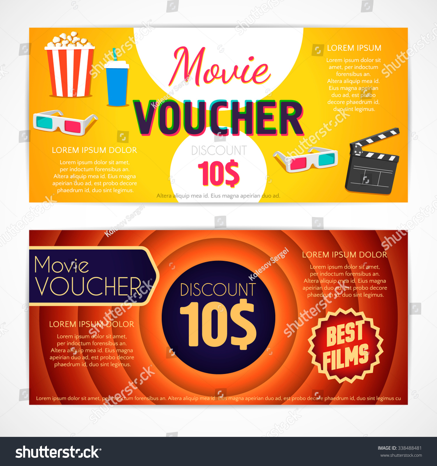 Movie Offer Coupons Stock Vector Discount Voucher Movie Template Cinema Gift