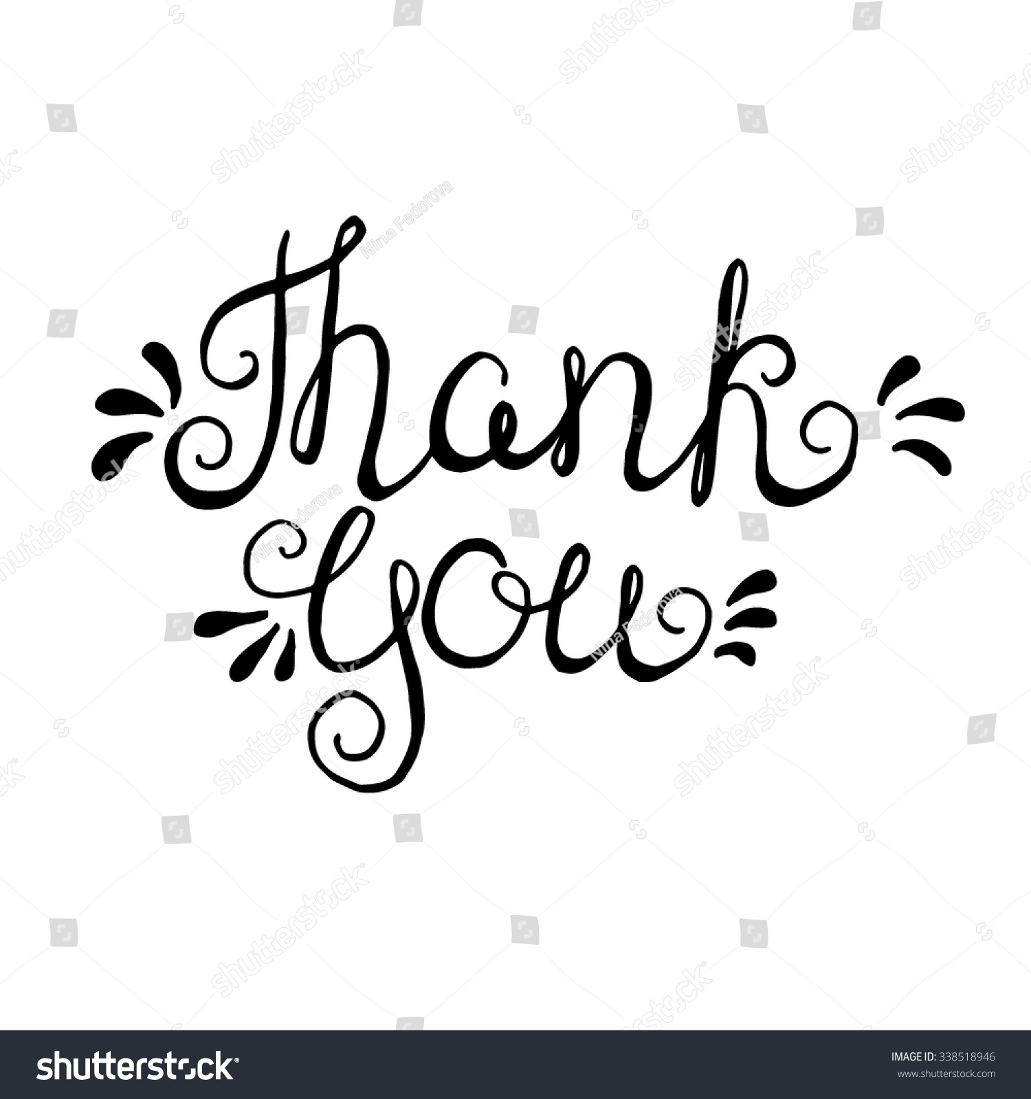 Thank You Handdrawn Typography Design Element Vector