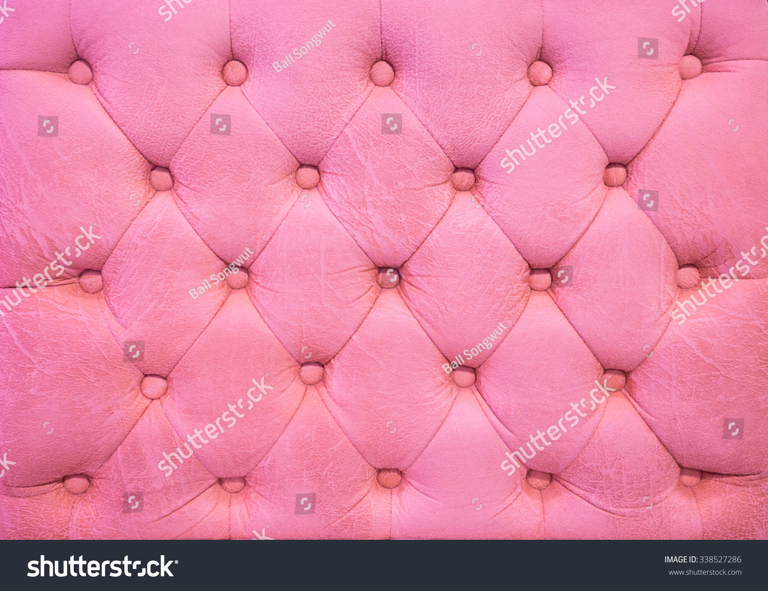 Vintage Pink Leather Upholstery Buttoned Sofa Stock