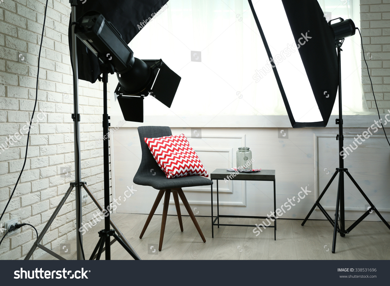 Photo Studio Modern Interior Lighting Equipment Stock Photo ... for Photography Lighting Equipment For Beginners  61obs