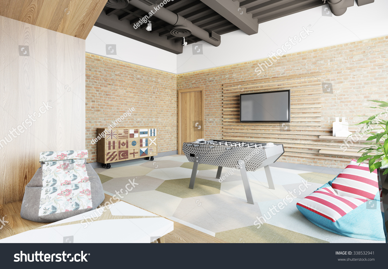 office lounge design. Office Lounge With Brick Wall 3d Rendering Design