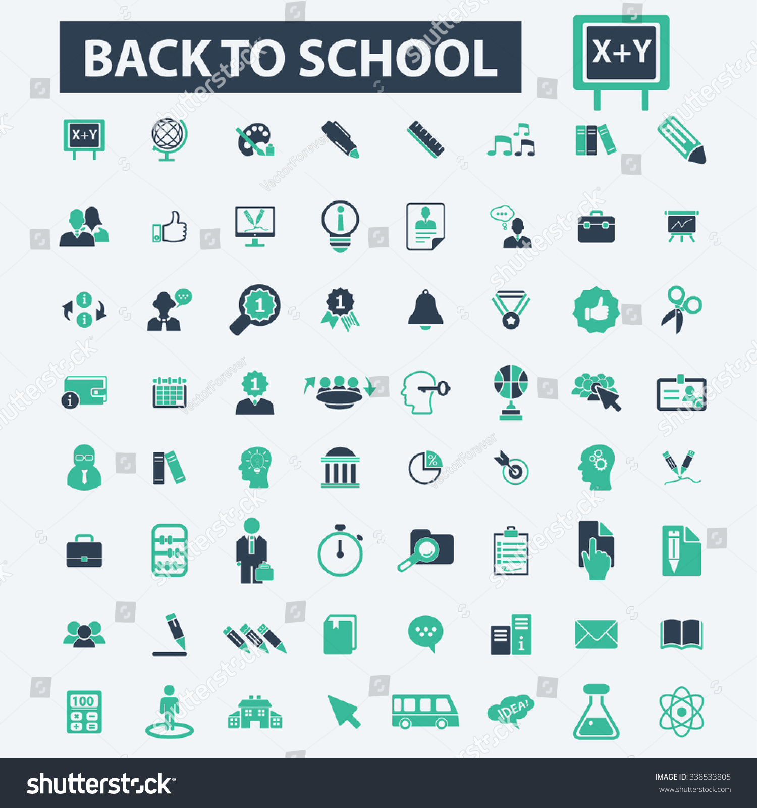 back to school teacher mathematics literature pupil lessons back to school teacher mathematics literature pupil lessons icons signs vector concept set for infographics mobile website application 338533805