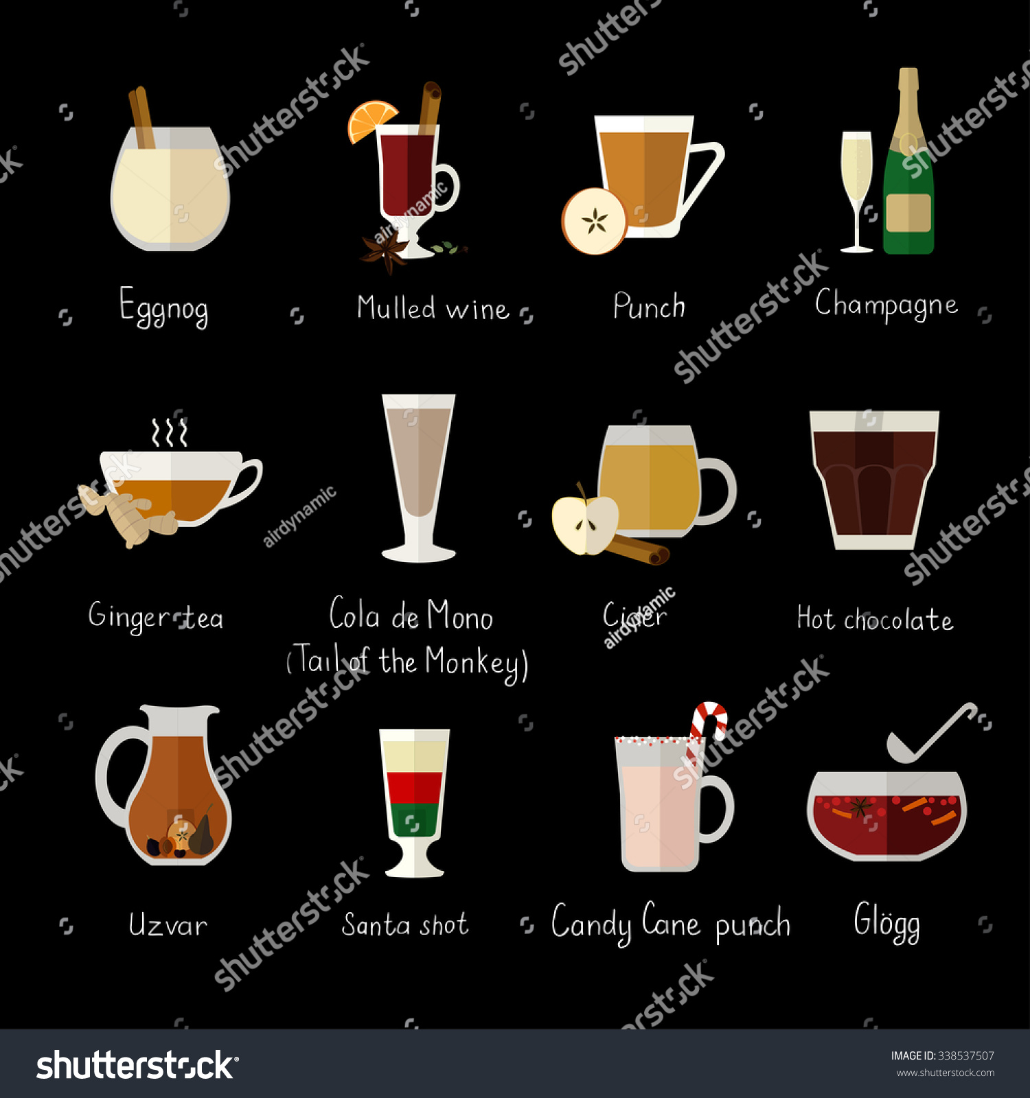 Vector Flat Icons Traditional Christmas Drinks Stock Vector ...