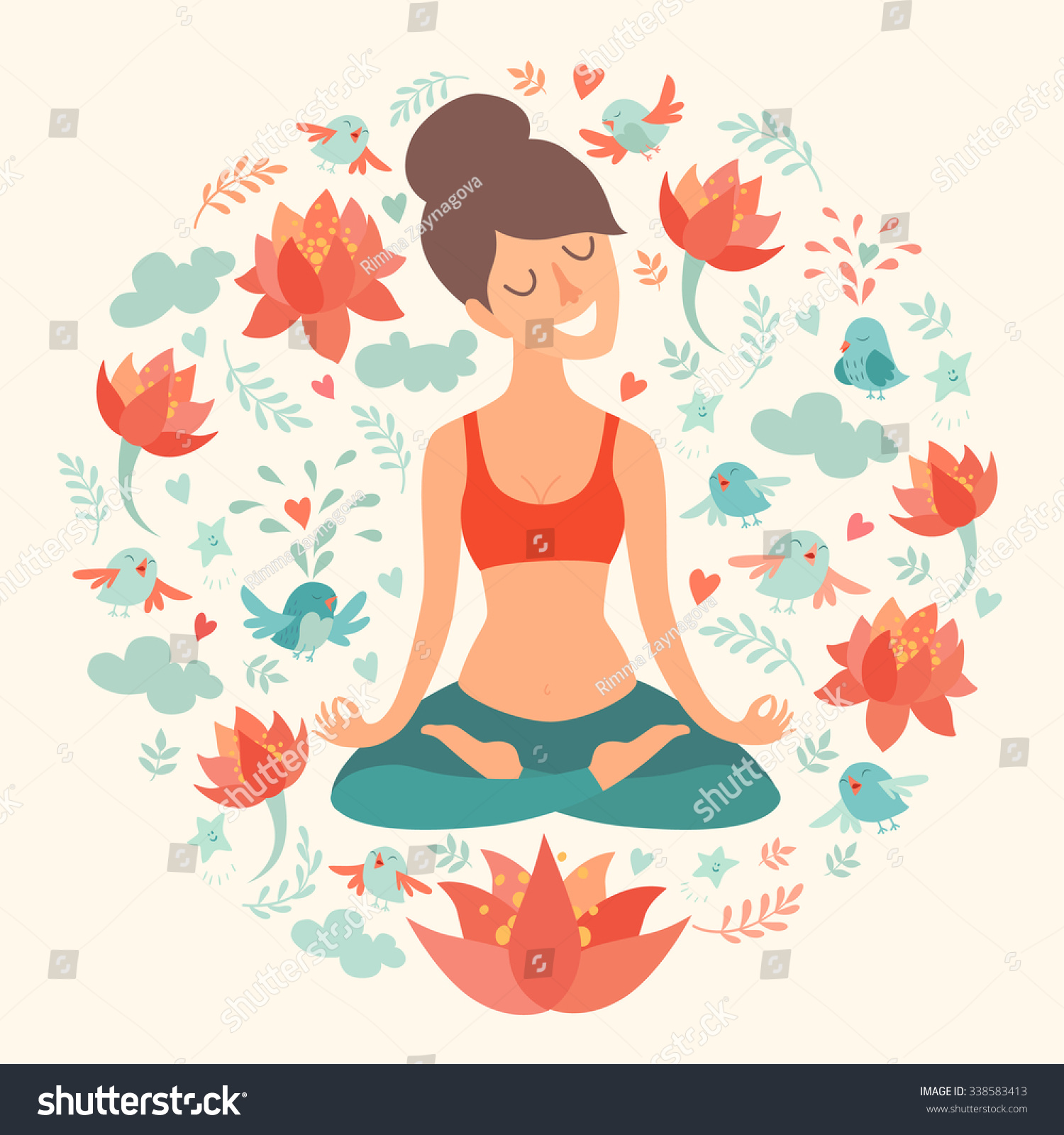Yoga pose lotus position beautiful girl stock vector 338583413 yoga pose lotus position beautiful girl in the lotus position vector illustration isolated mightylinksfo