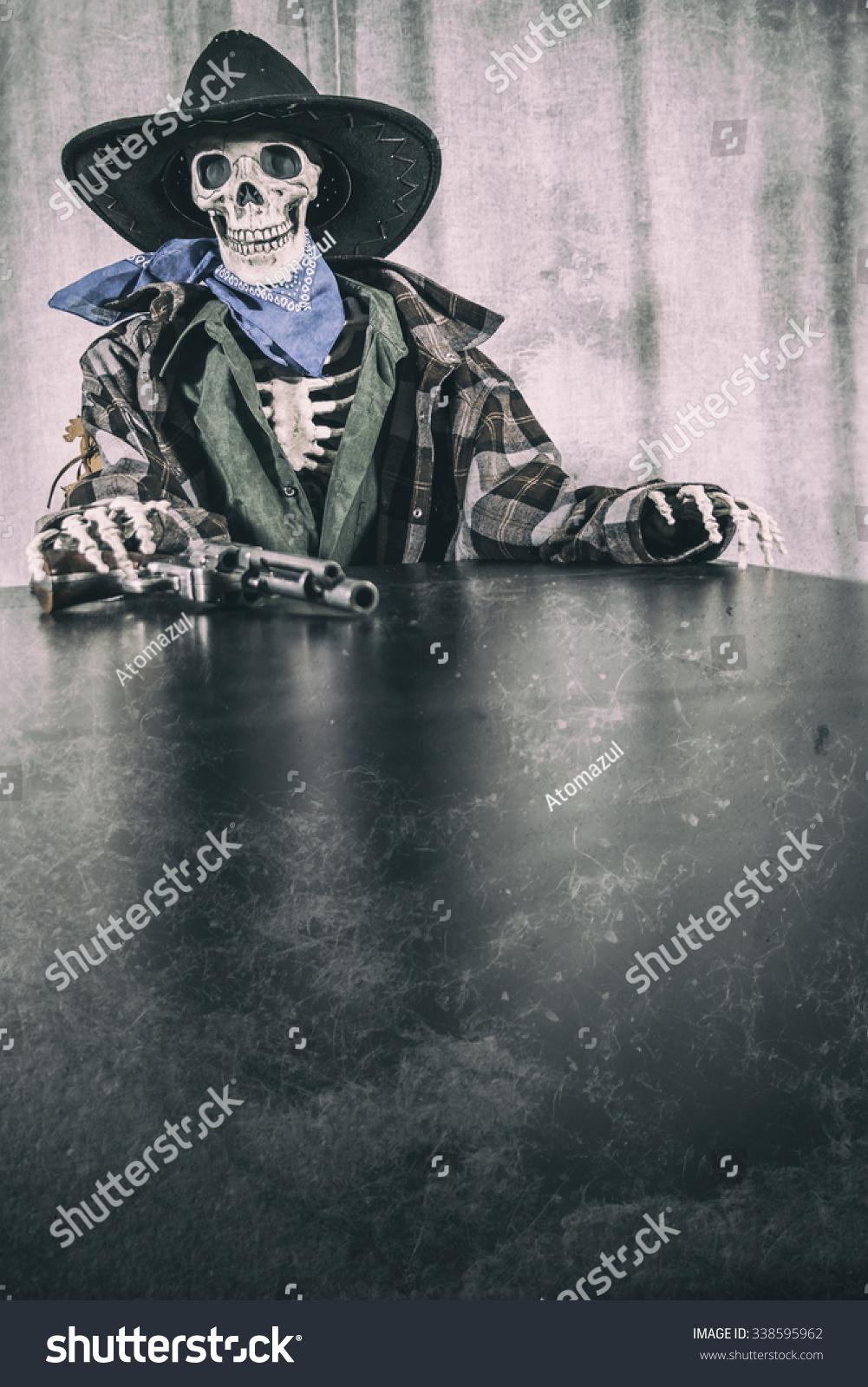 6c1d227963f Old West Skeleton Revolver Copy Space. Old west bandit outlaw skeleton at a  poker table