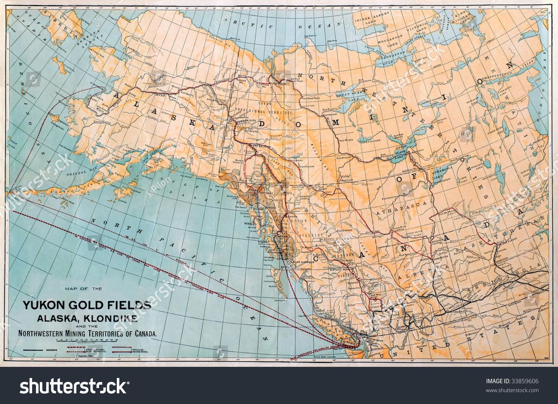 Original map alaska yukon gold fields stock photo edit now original map of the alaska and yukon gold fields dated 1898 gumiabroncs Image collections