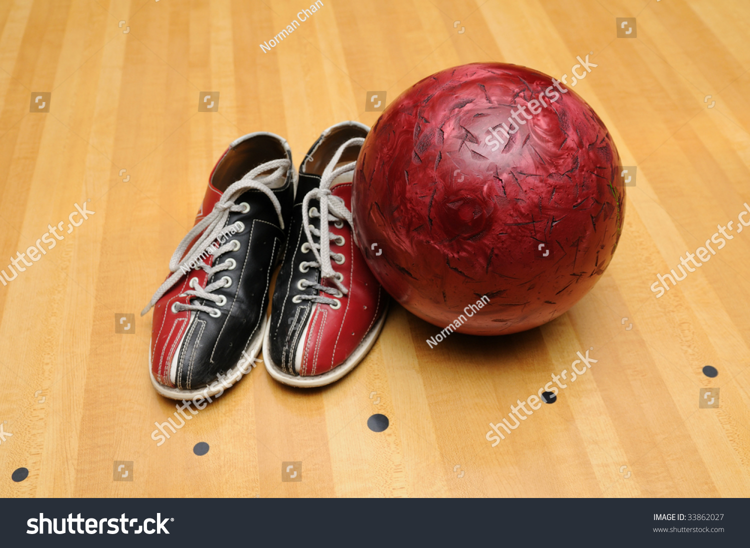 Bowling Shoes Ball On Lane Stock Photo 33862027 - Shutterstock