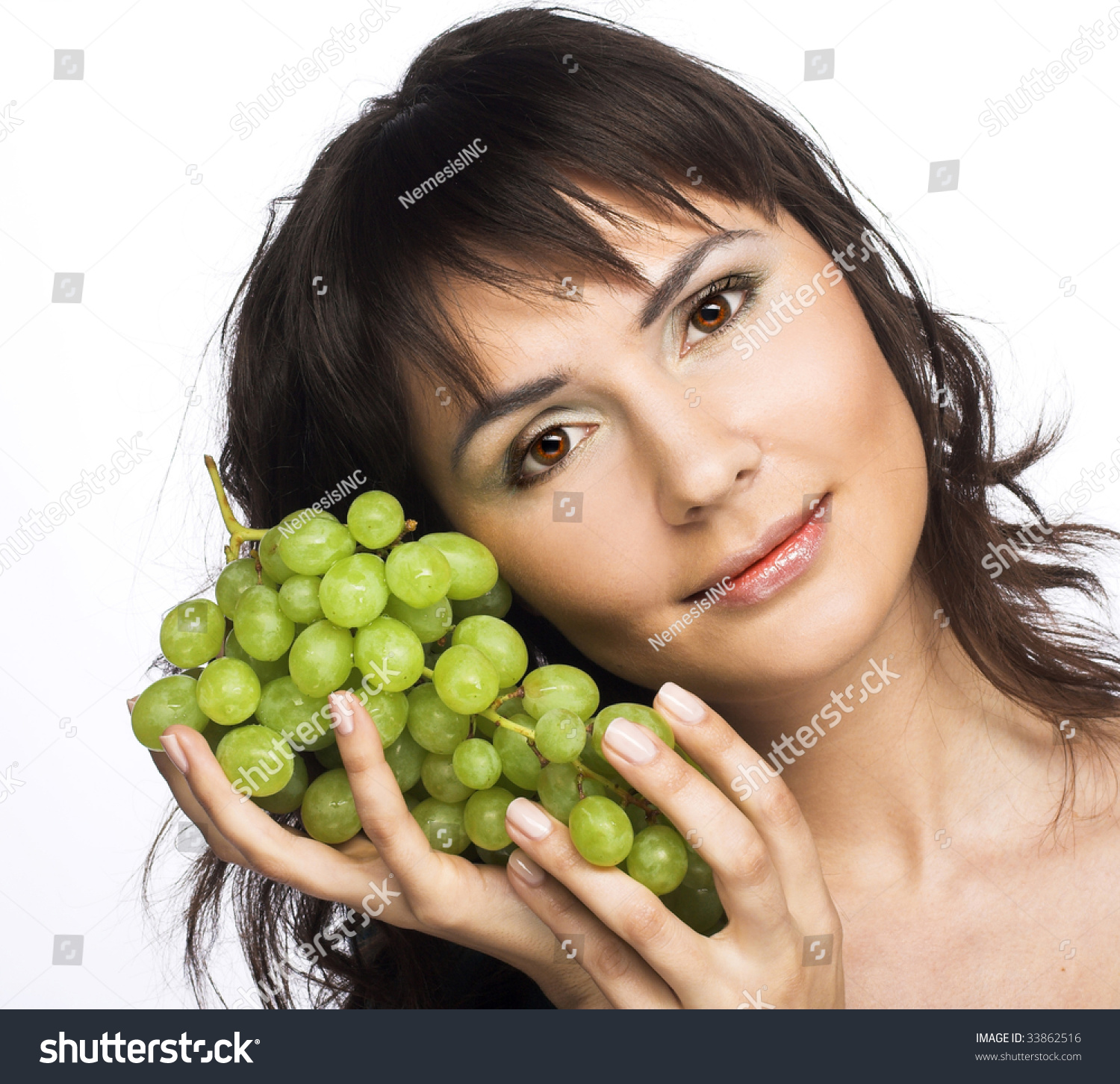 Portrait Young Woman Green Grapes Stock Photo Edit Now