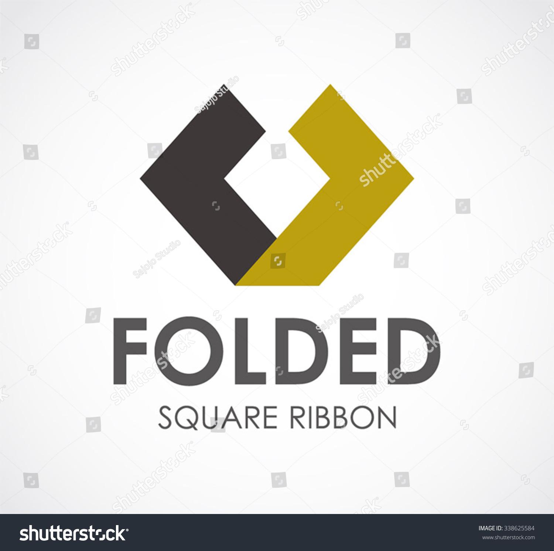 Ribbon Fold Square Abstract Vector Logo Stock Vector ... - photo#43