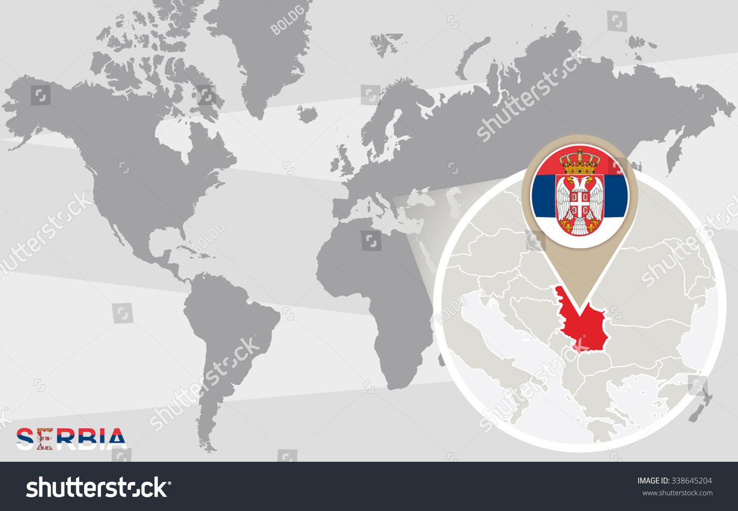 World Map Magnified Serbia Serbia Flag Stock Illustration