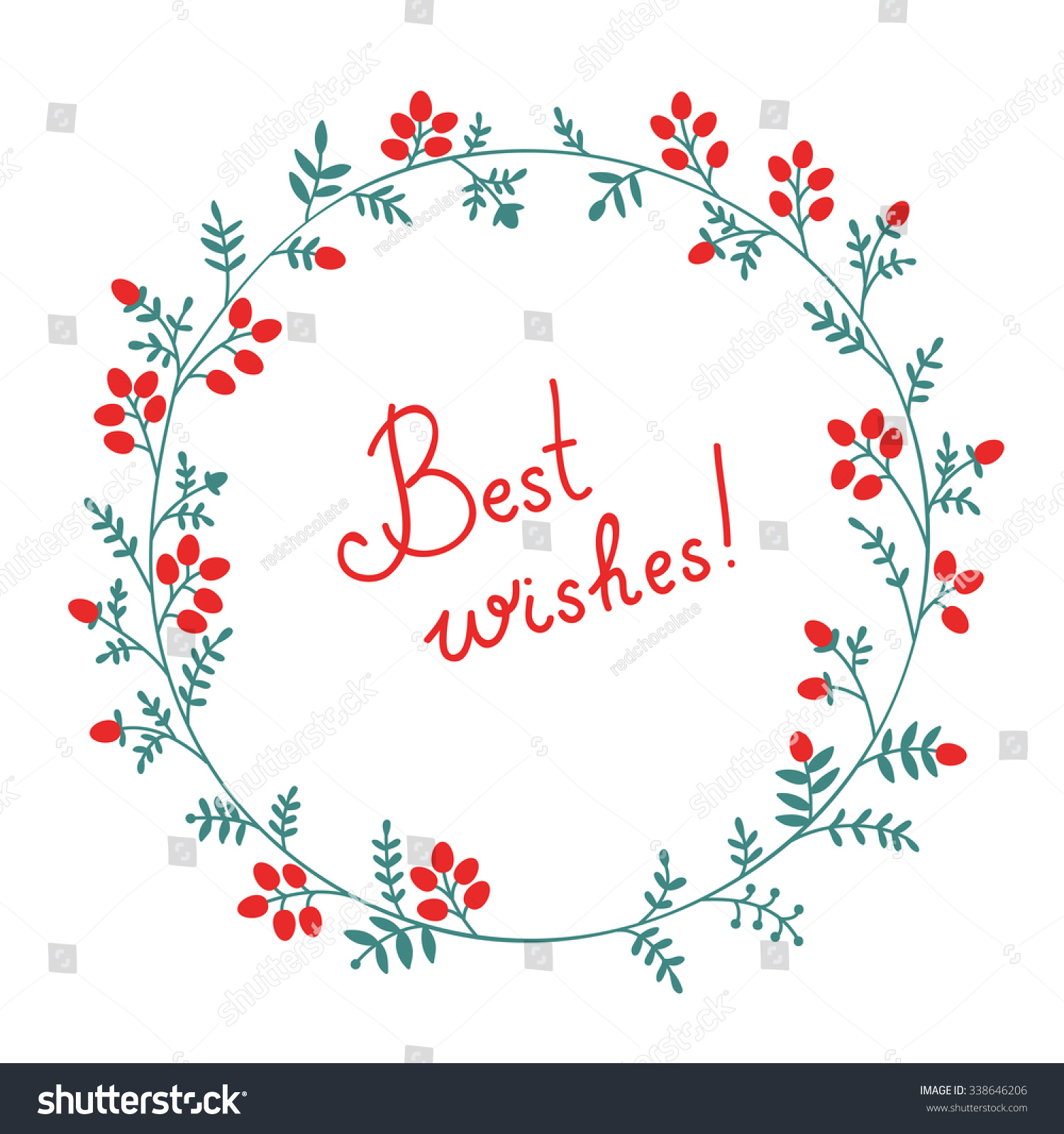 Best Wishes Floral Wreath Design Element Stock Vector Royalty Free