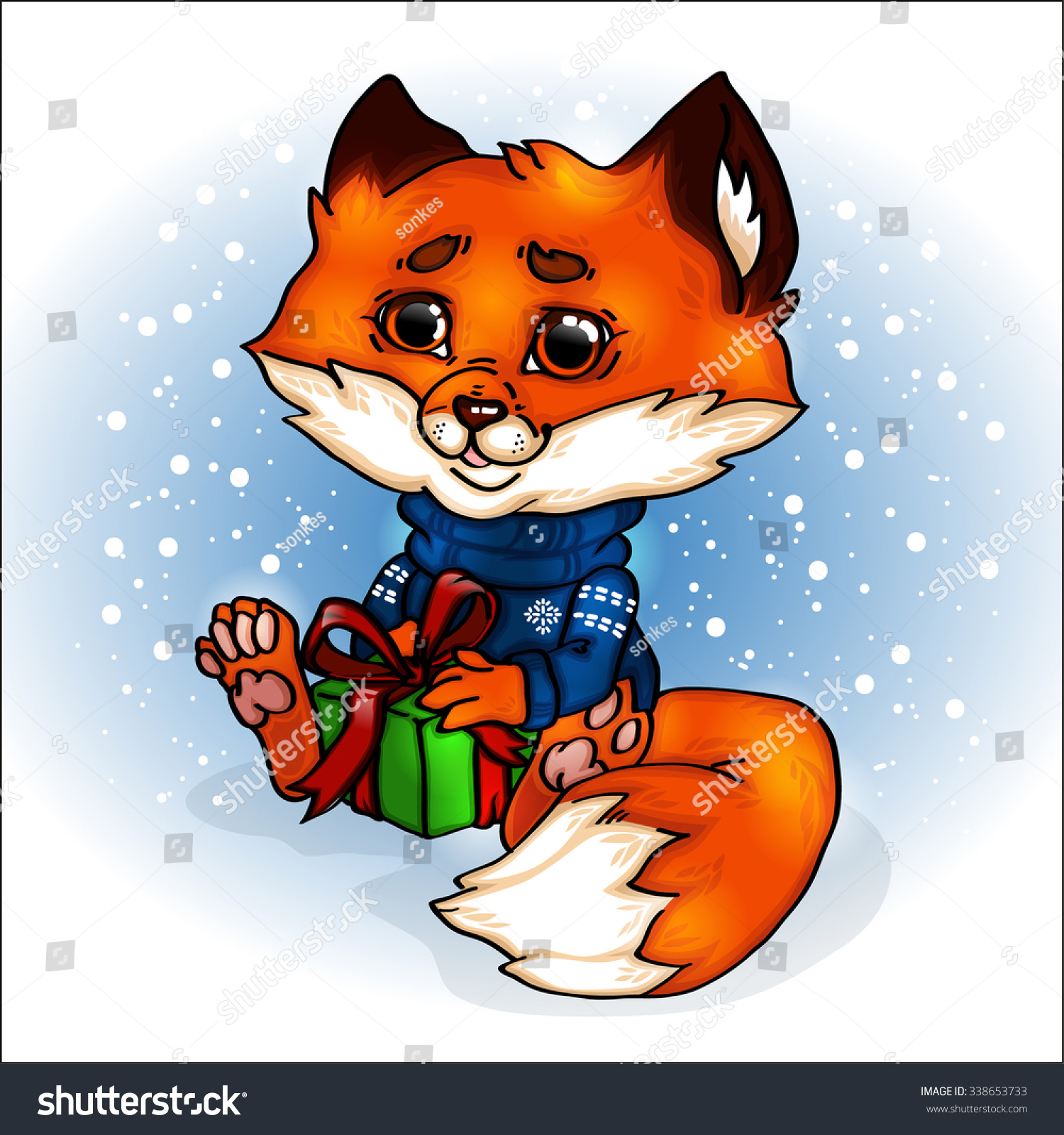 Fox Cartoon Cute New Year Christmas Stock Vector Royalty Free 338653733