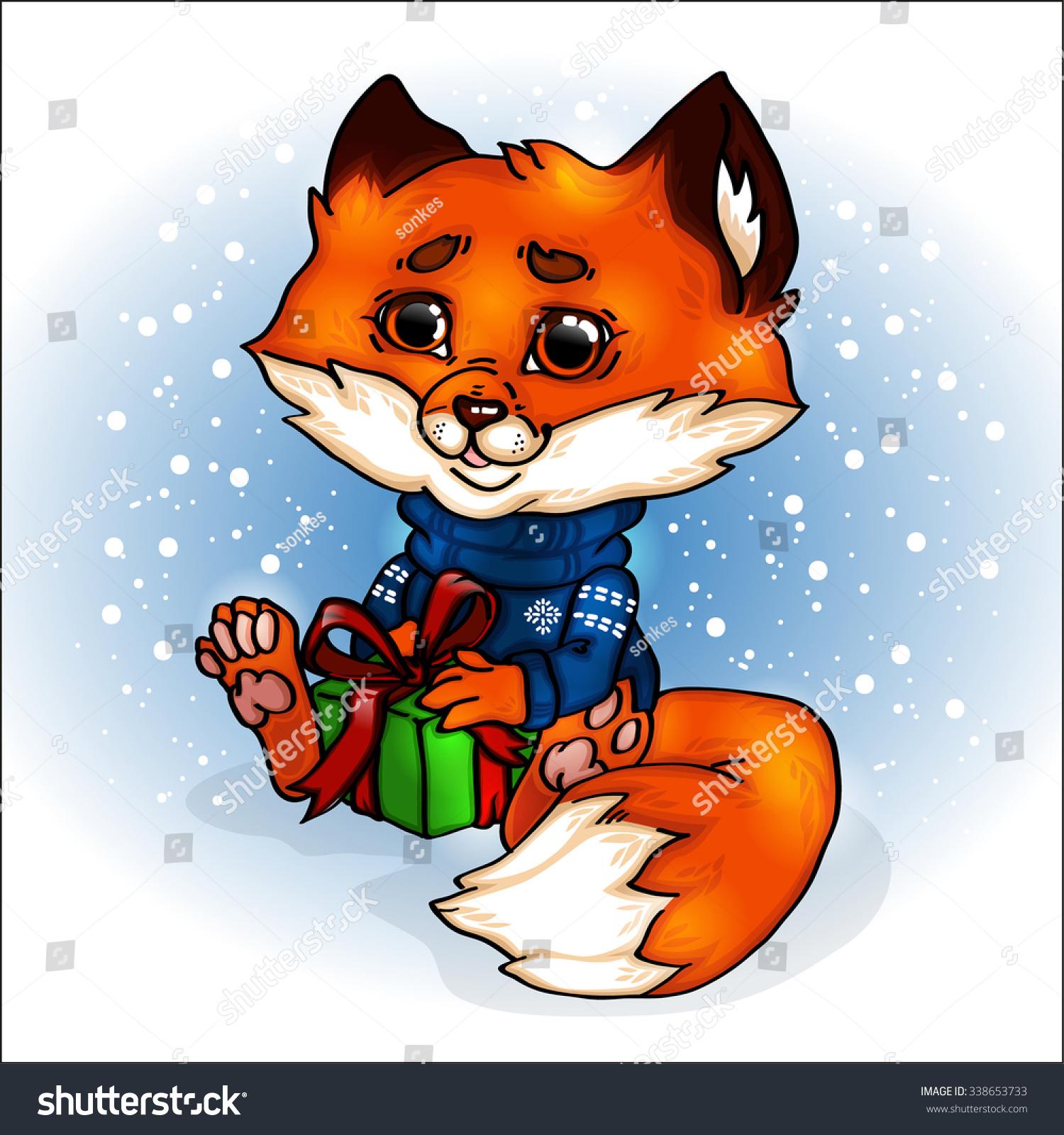Fox Cartoon Cute New Year Christmas Stock Vector Royalty Free 338653733