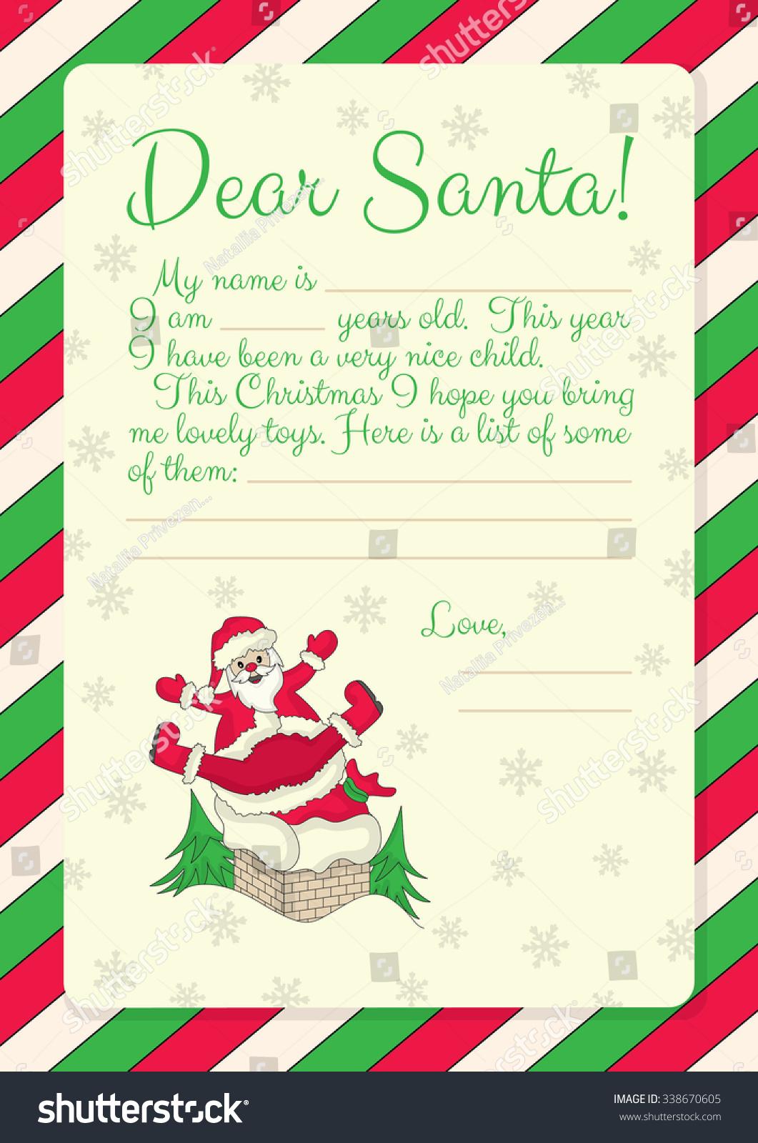 Template Letter Santa Illustration Santa Stock Vector