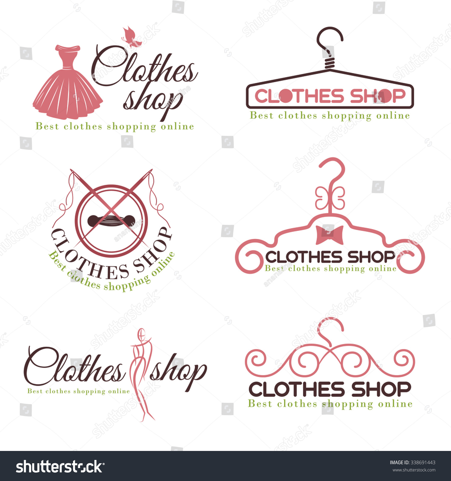 Royalty Free Clothes Shop Fashion Logo Vector Set Design 338691443 Stock Vector Imageric Com