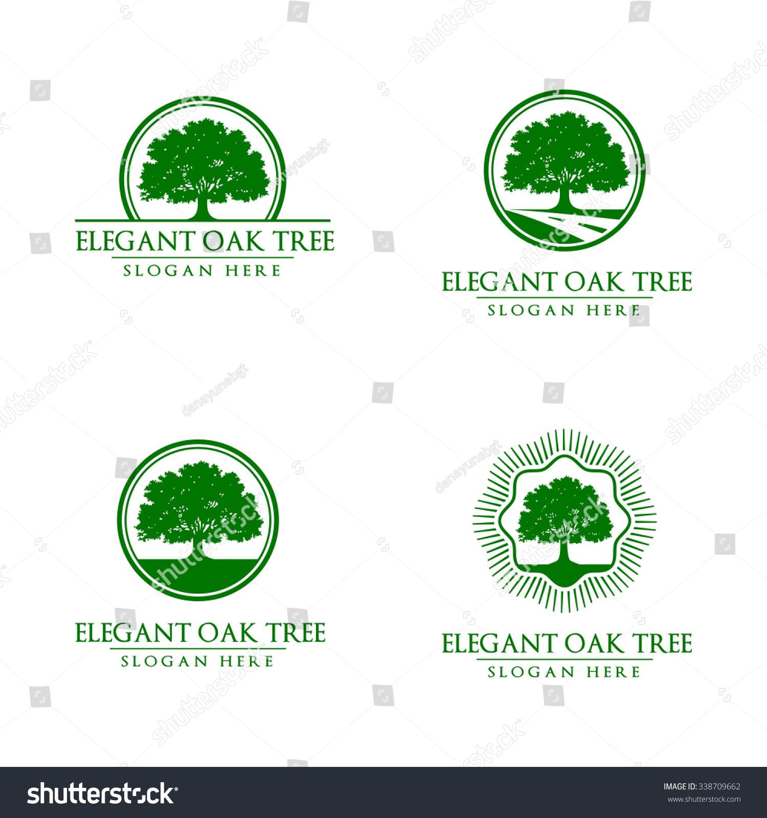 Green Oak Tree Logo Vol 3 Stock Vector 338709662 - Shutterstock