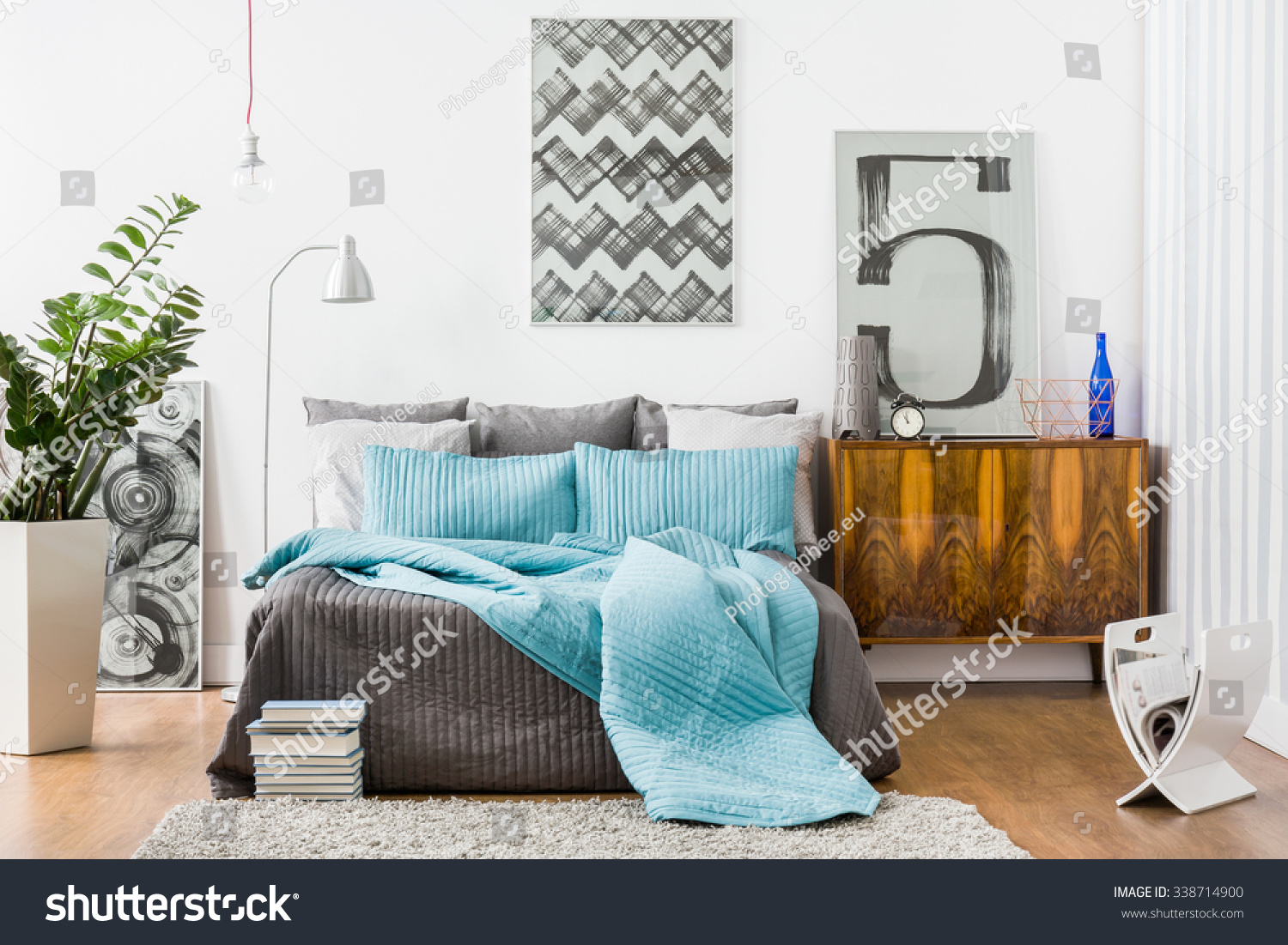 Image of spacious bedroom with modern stylish furniture. Image Spacious Bedroom Modern Stylish Furniture Stock Photo
