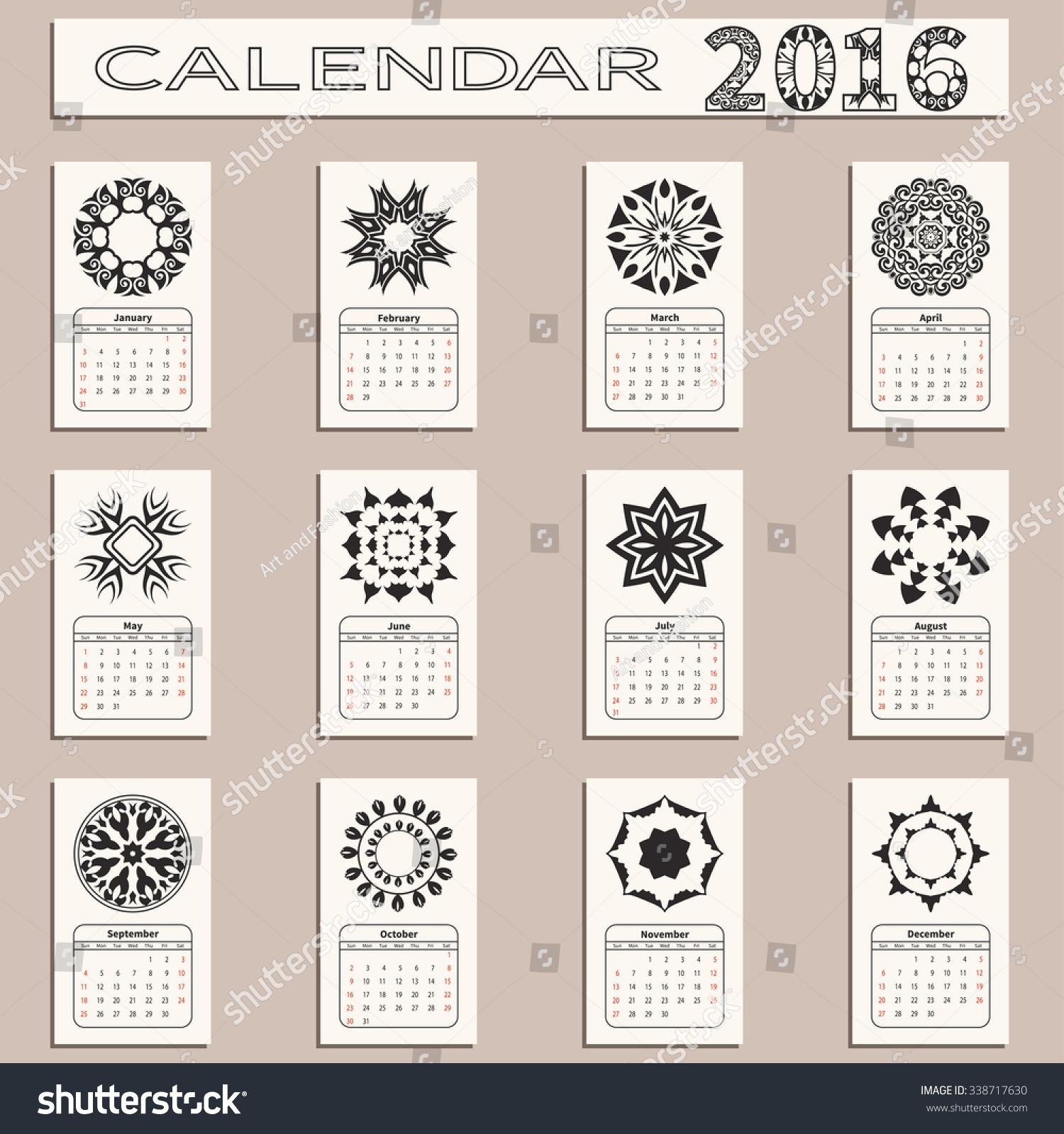 Calendar Vintage Vector : Calendar vintage decorative elements round ornaments