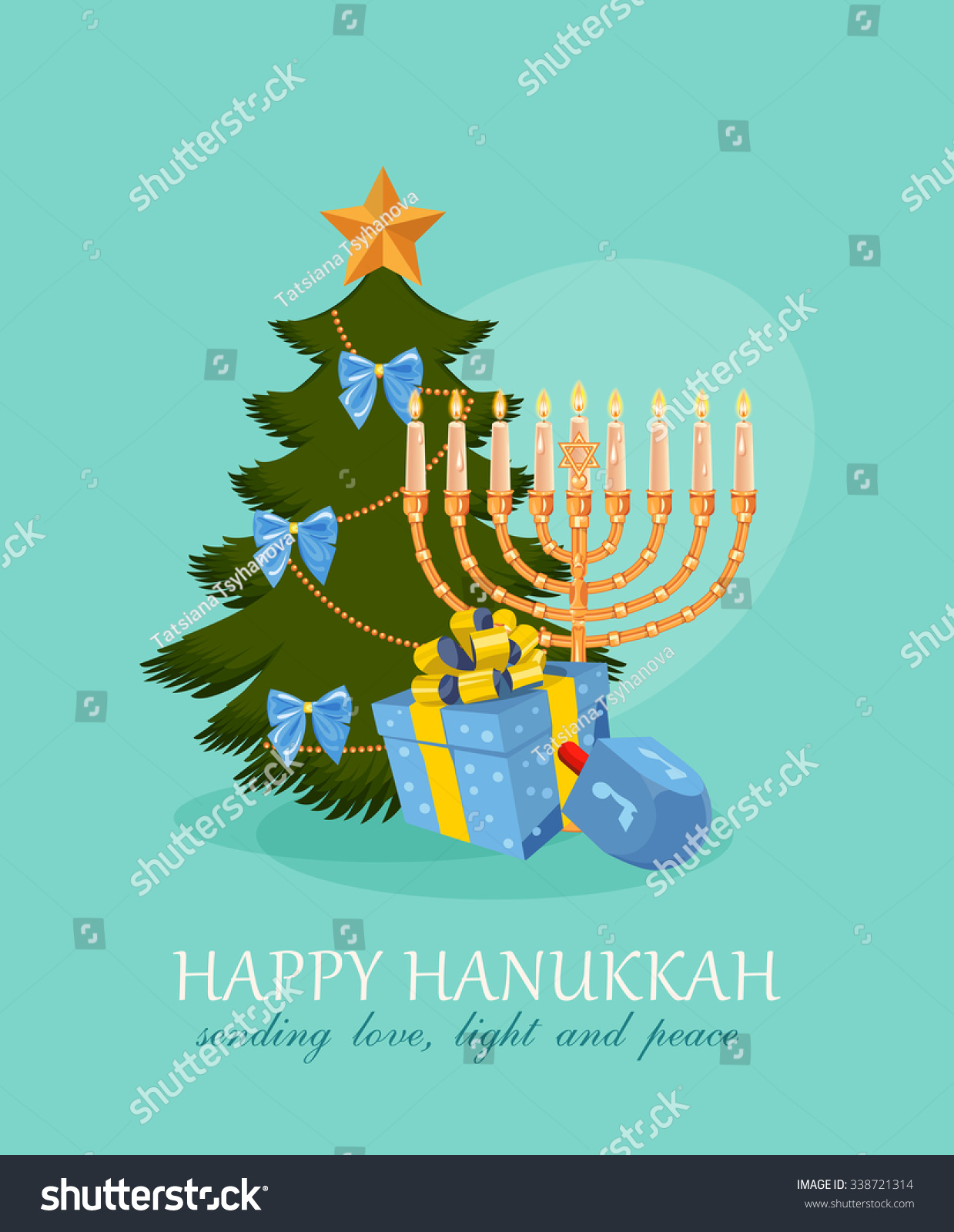 Happy Hanukkah Greeting Card Design Jewish Stock Vector (Royalty ...