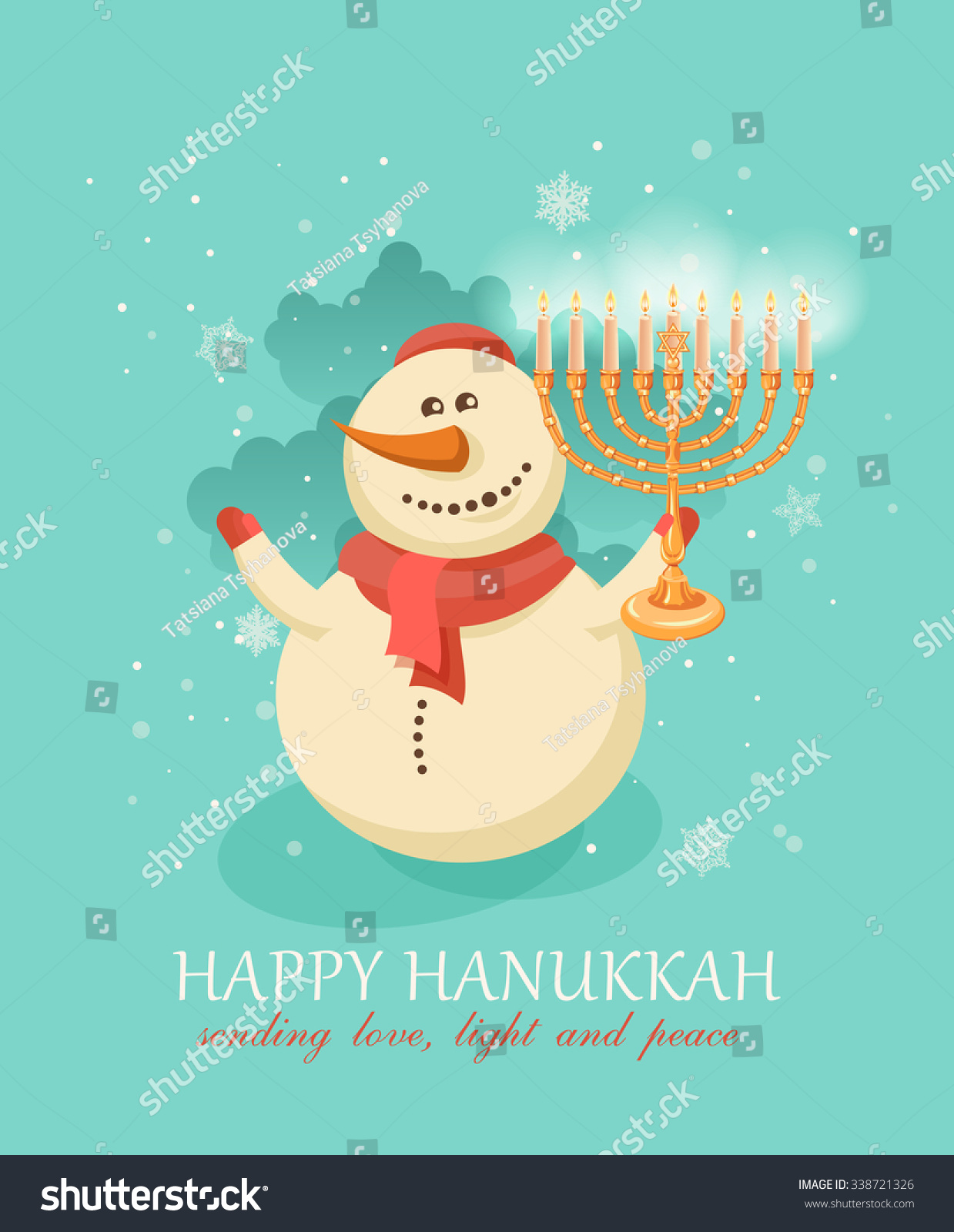 Happy Hanukkah Greeting Card Design Jewish Stock Vector Royalty
