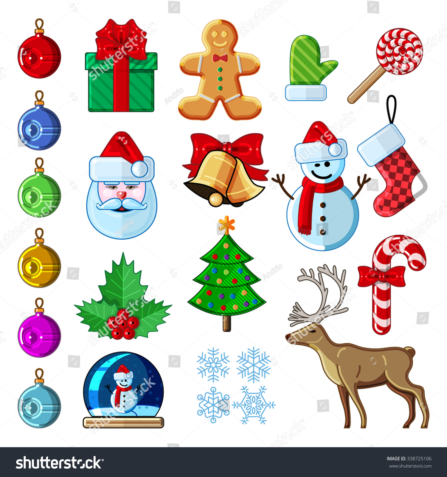 Christmas Icon Symbol Set Collection Colorfull Stock Vector Royalty